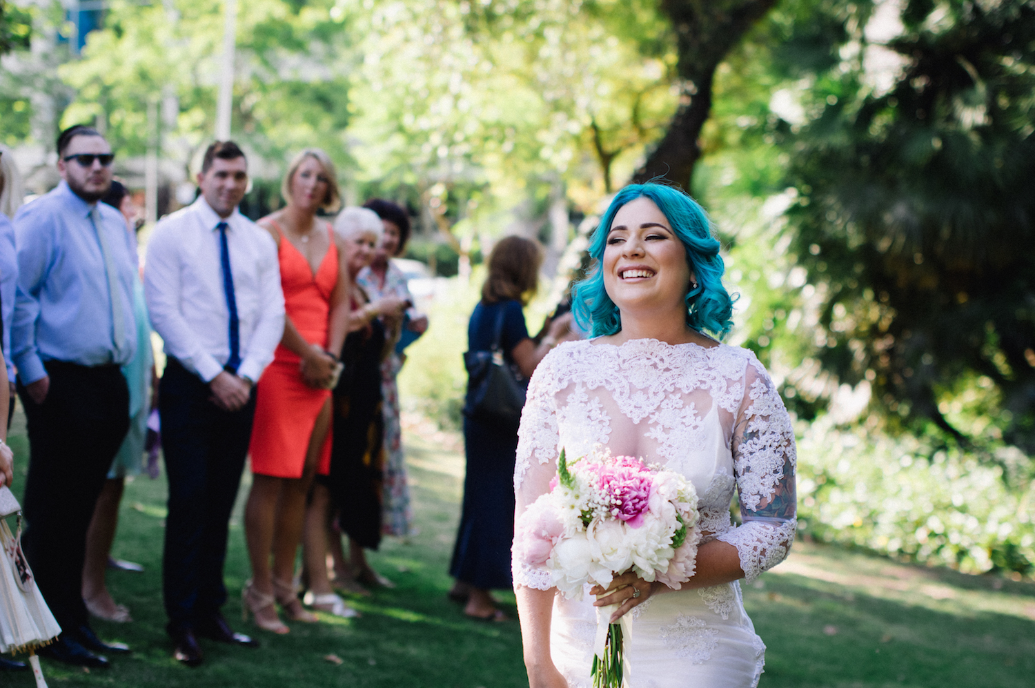 Harold Boas Gardens Perth Wedding Aimee Rory Ceremony Blue Hair