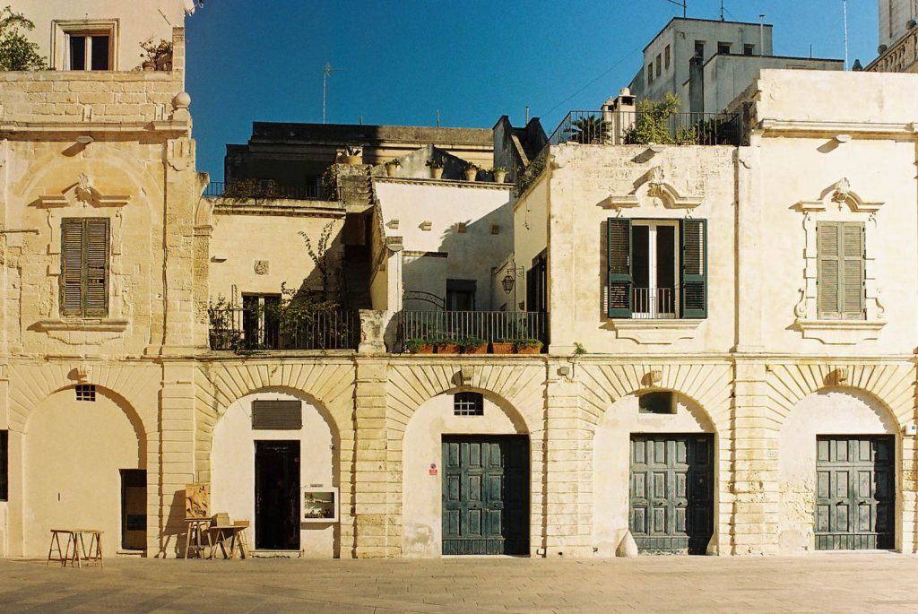 Analogue Travel Photo of a building facade in Lecce, Puglia