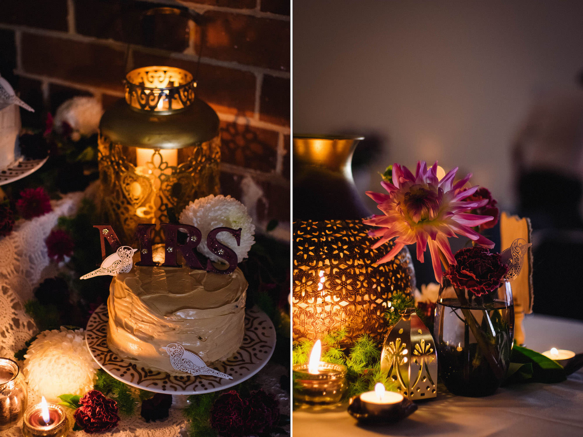 Cake & decoration details for Jibb & Tripthi's international wedding at St Matthew's Anglican Church, Subiaco