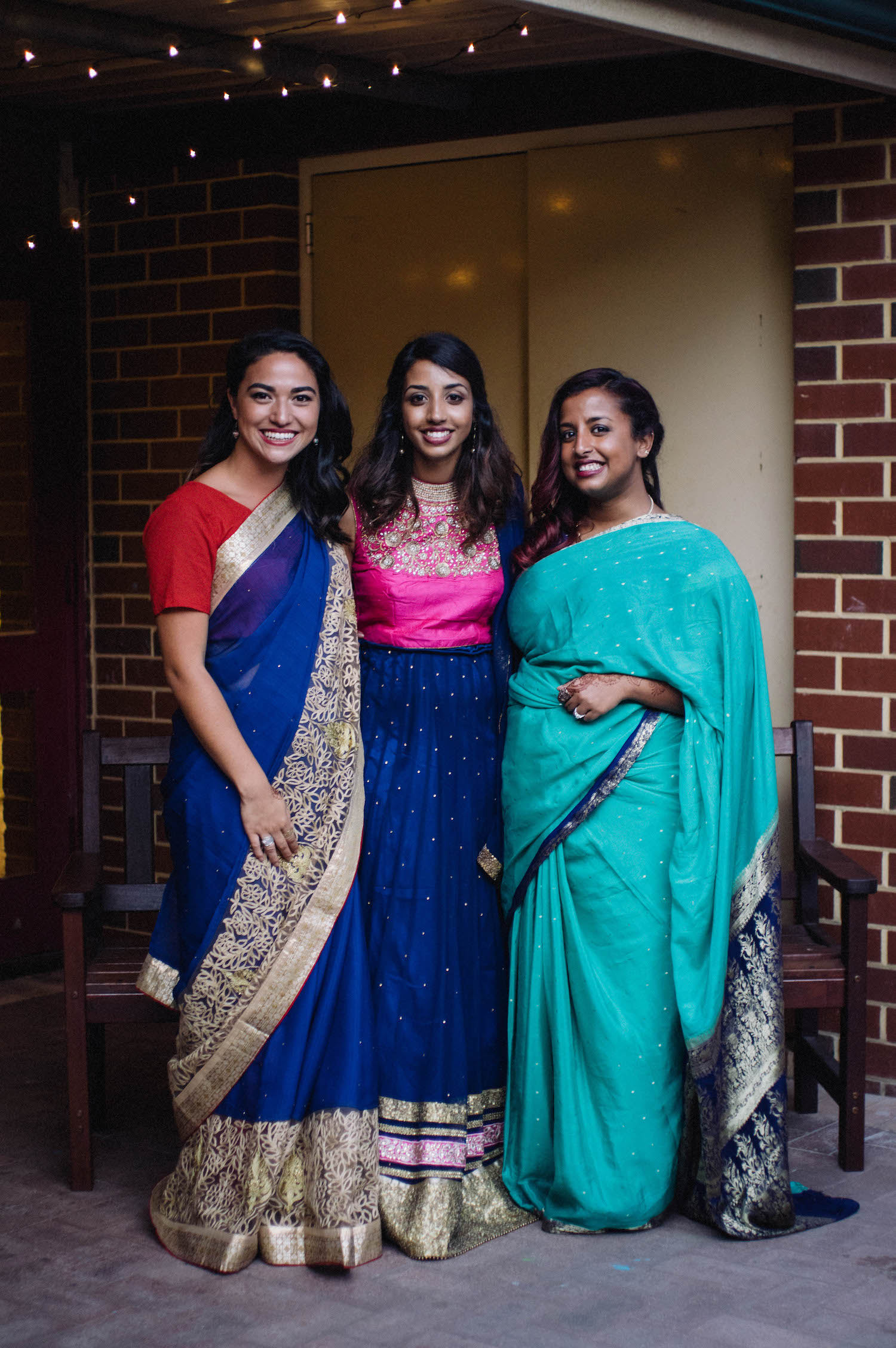 The bride & her bridesmaids in their Saris at a wedding reception in Subiaco, Australia