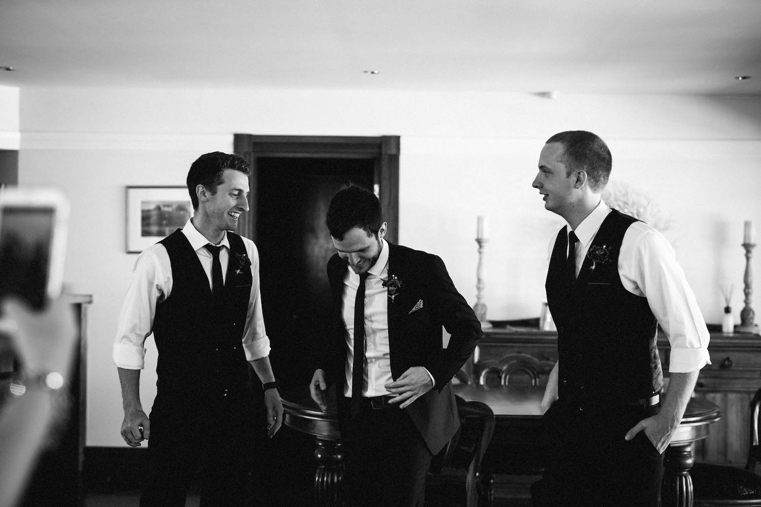 A Perth groom, Jibb, with his two brothers before his Subiaco wedding.
