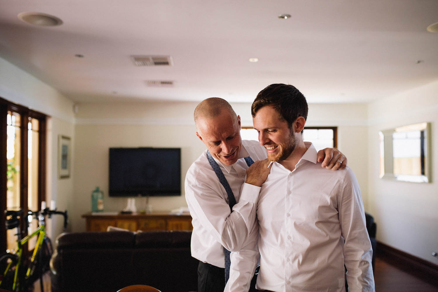 A father & son getting ready for the son's Subiaco wedding.