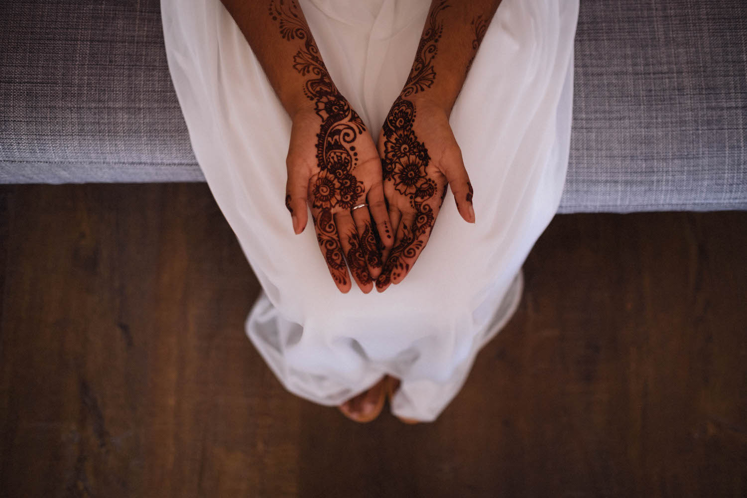 A photo of a Canadian-Indian bride's henna, the morning of her Perth wedding.