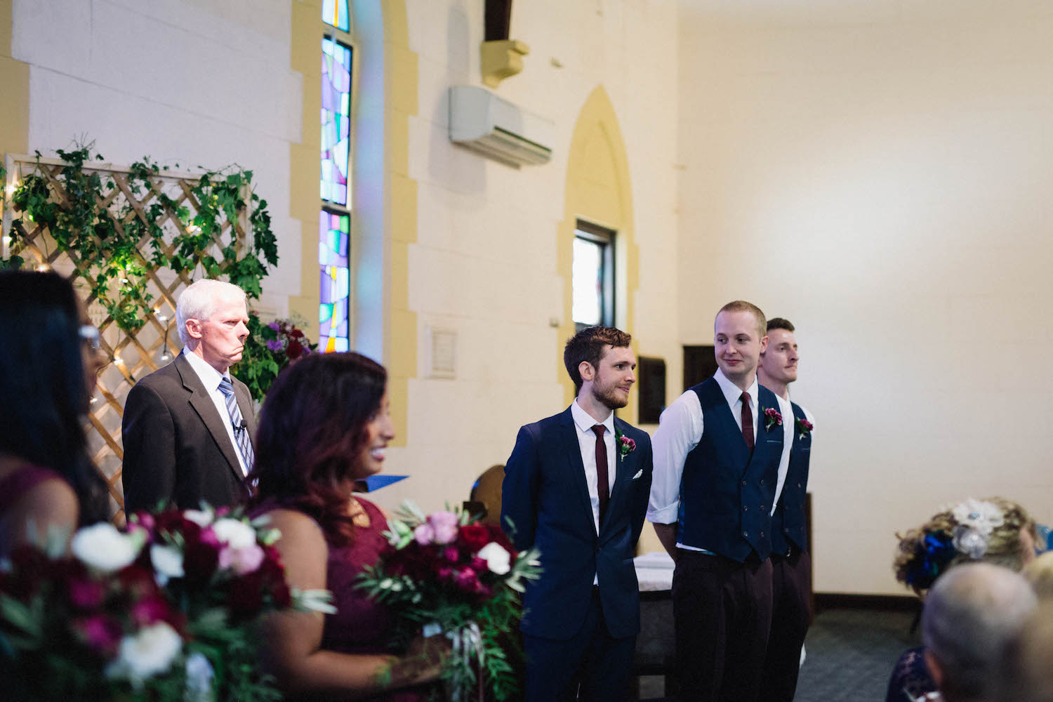 Groom's reaction as the bride arrives at the ceremony in Subiaco, Australia.