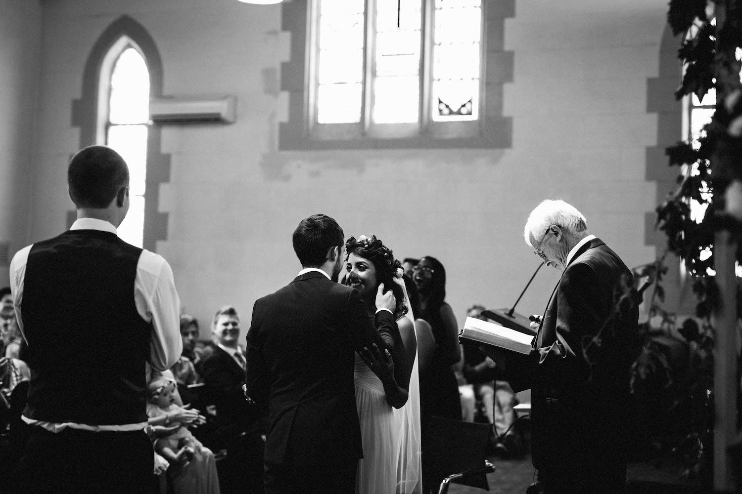 The bride & groom moments after their first kiss at St Matthew's Anglican Church, Subiaco.