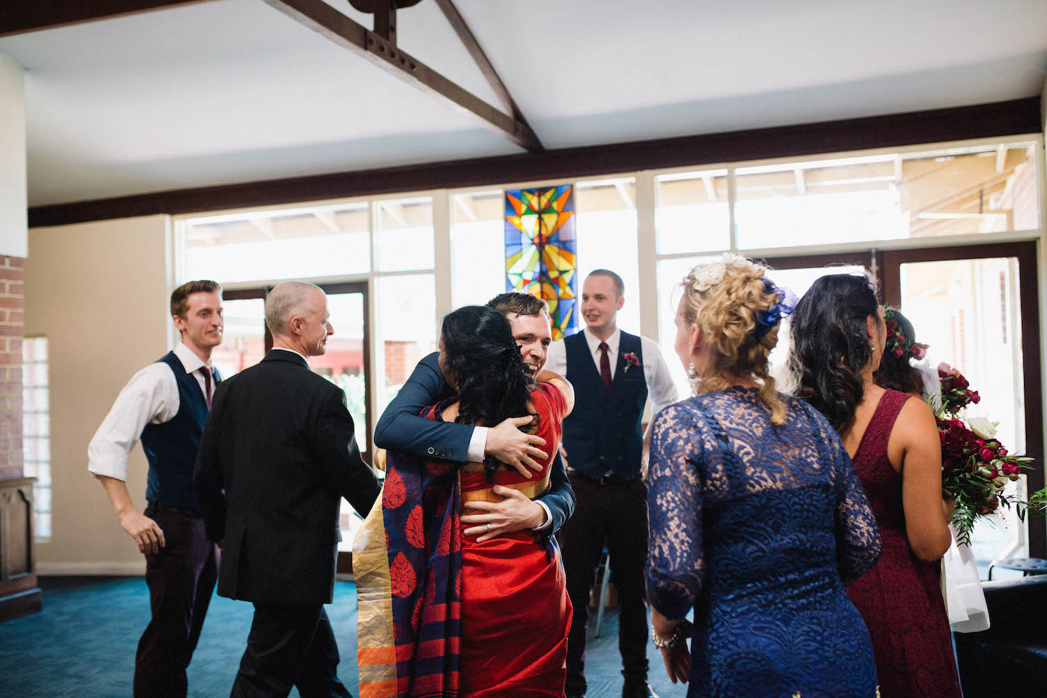 Groom hugging his new Mother-in-Law after his Subiaco wedding Ceremony at St Matthew's Anglican Church