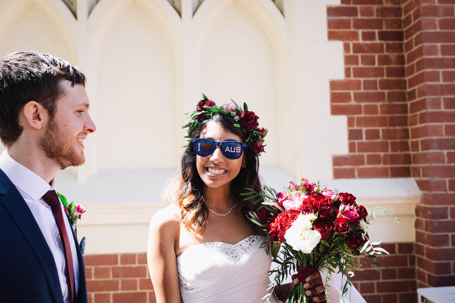 The Bride & Groom outside St Matthew's Anglican Church after their Subiaco wedding ceremony