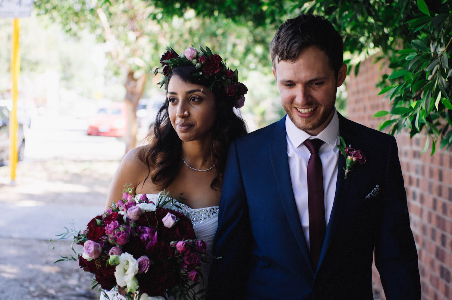 Suburban Bridal Portraits outside St Matthew's Anglican Church, Subiaco, taken by Rhianna May Destination Wedding Photographer