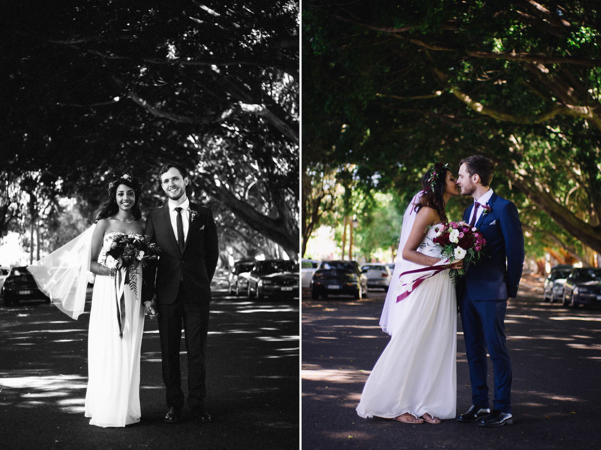 A bride & groom under Shenton Park's Moreton Bay Fig Trees taken by Rhianna May Destination Wedding Photographer