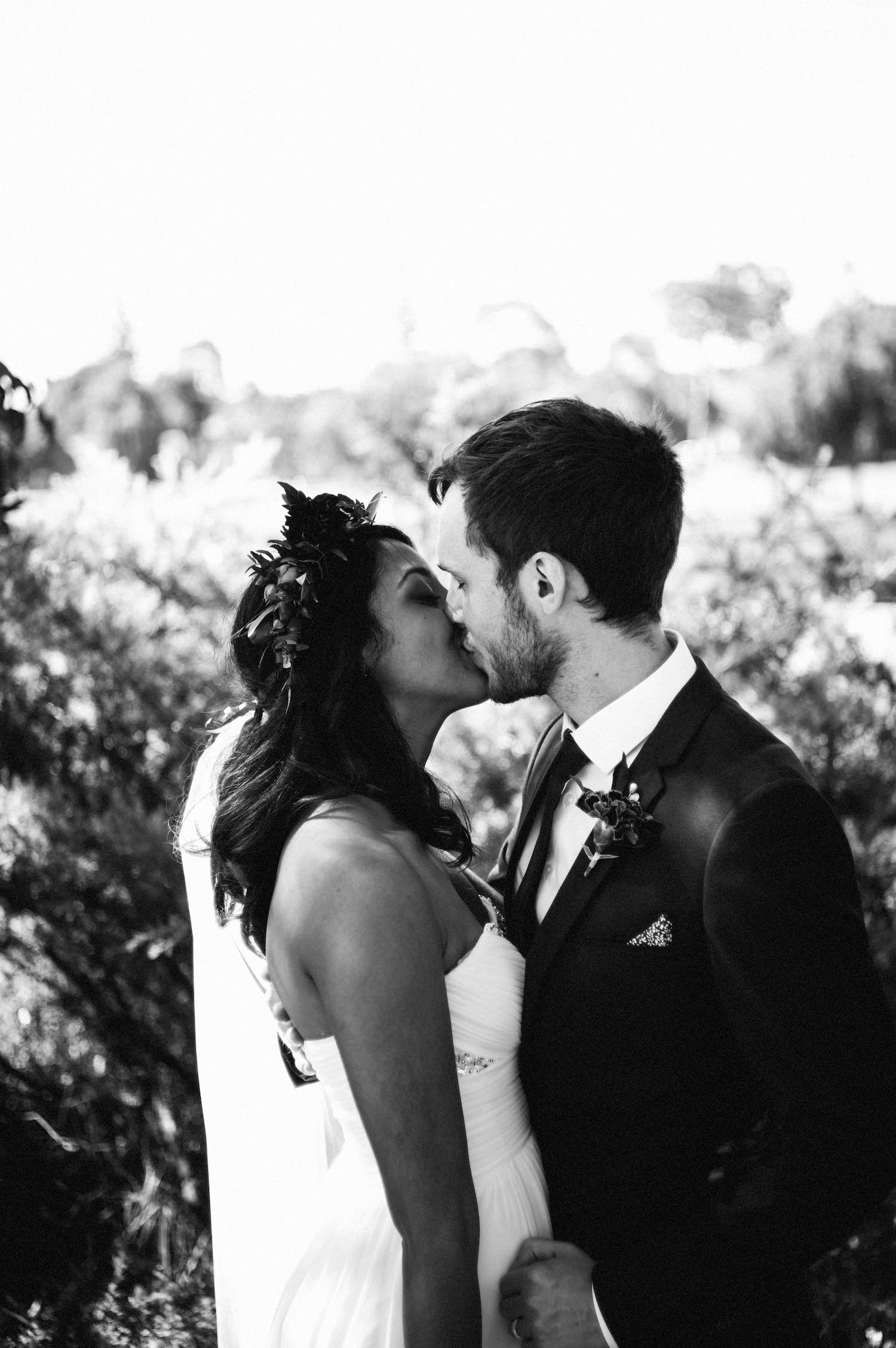 A black & white wedding photo of Jibb & Tripthi taken at Shenton Park, Western Australia.