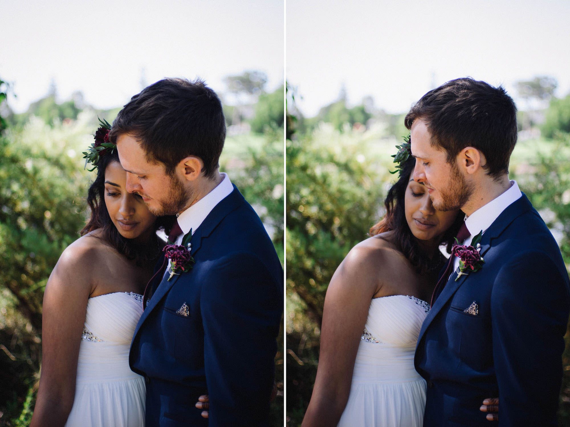 A bride & groom cuddle up during their portrait session with Rhianna May Destination Wedding Photographer at Subiaco, Australia.