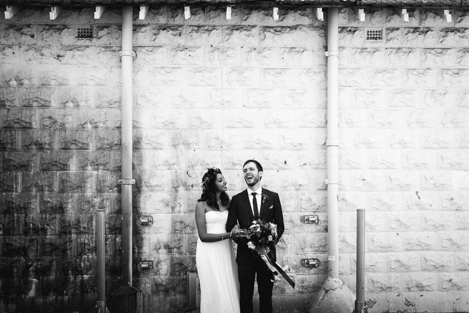 Jibb & Tripthi laugh together during their Subiaco wedding portrait session.