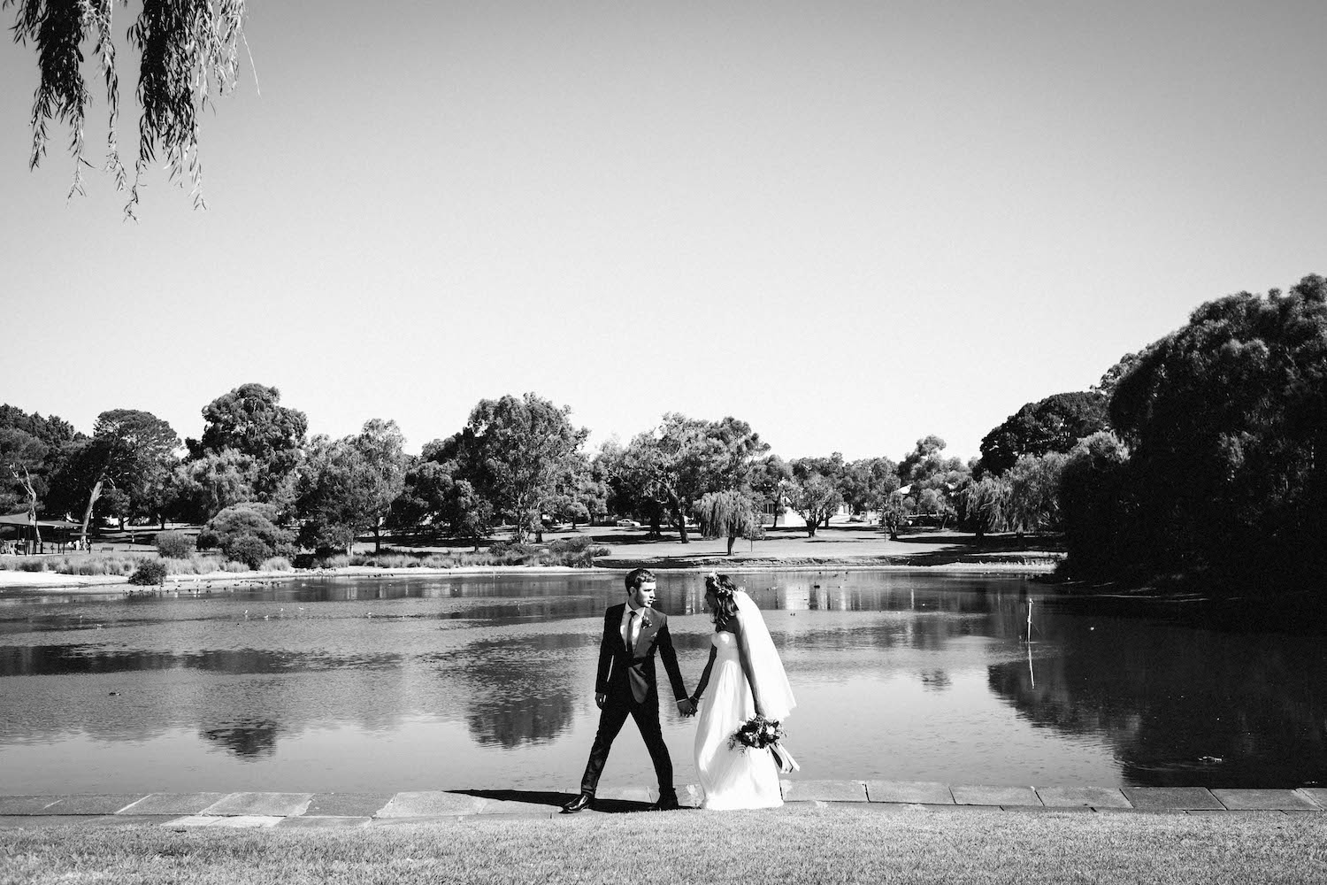 A bride & groom portrait at Shenton Park, photographed by Rhianna May Destination Wedding Photographer