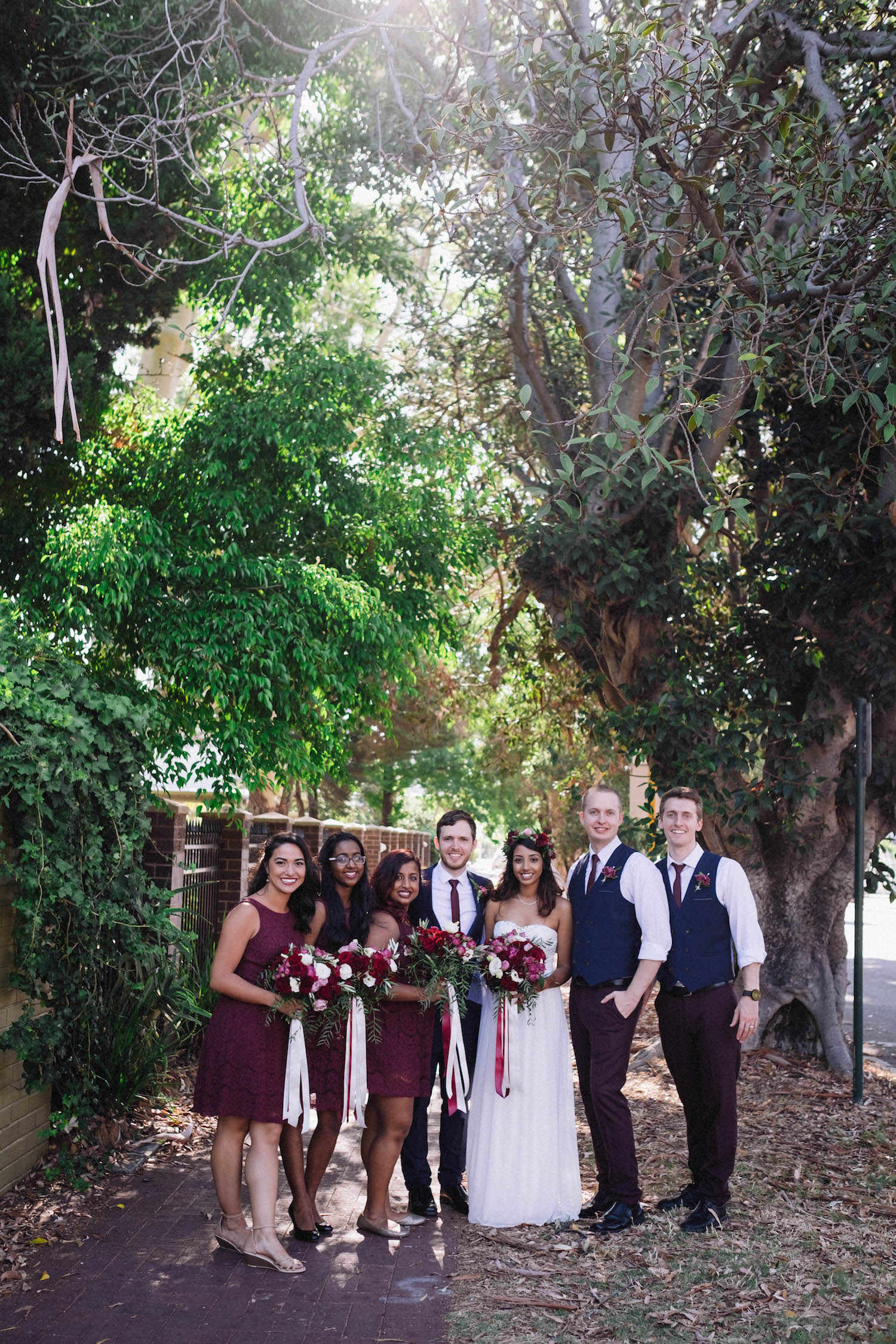 Bridal Party Portraits outside St Matthew's Anglican Church in Subiaco, taken by Rhianna May Destination Wedding Photographer