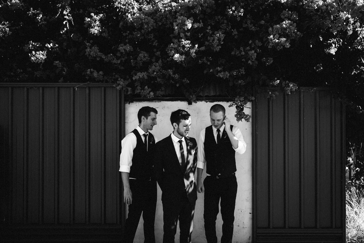 A black & white portrait of the groomsmen at a Subiaco Wedding, taken by Rhianna May Destination Wedding Photographer