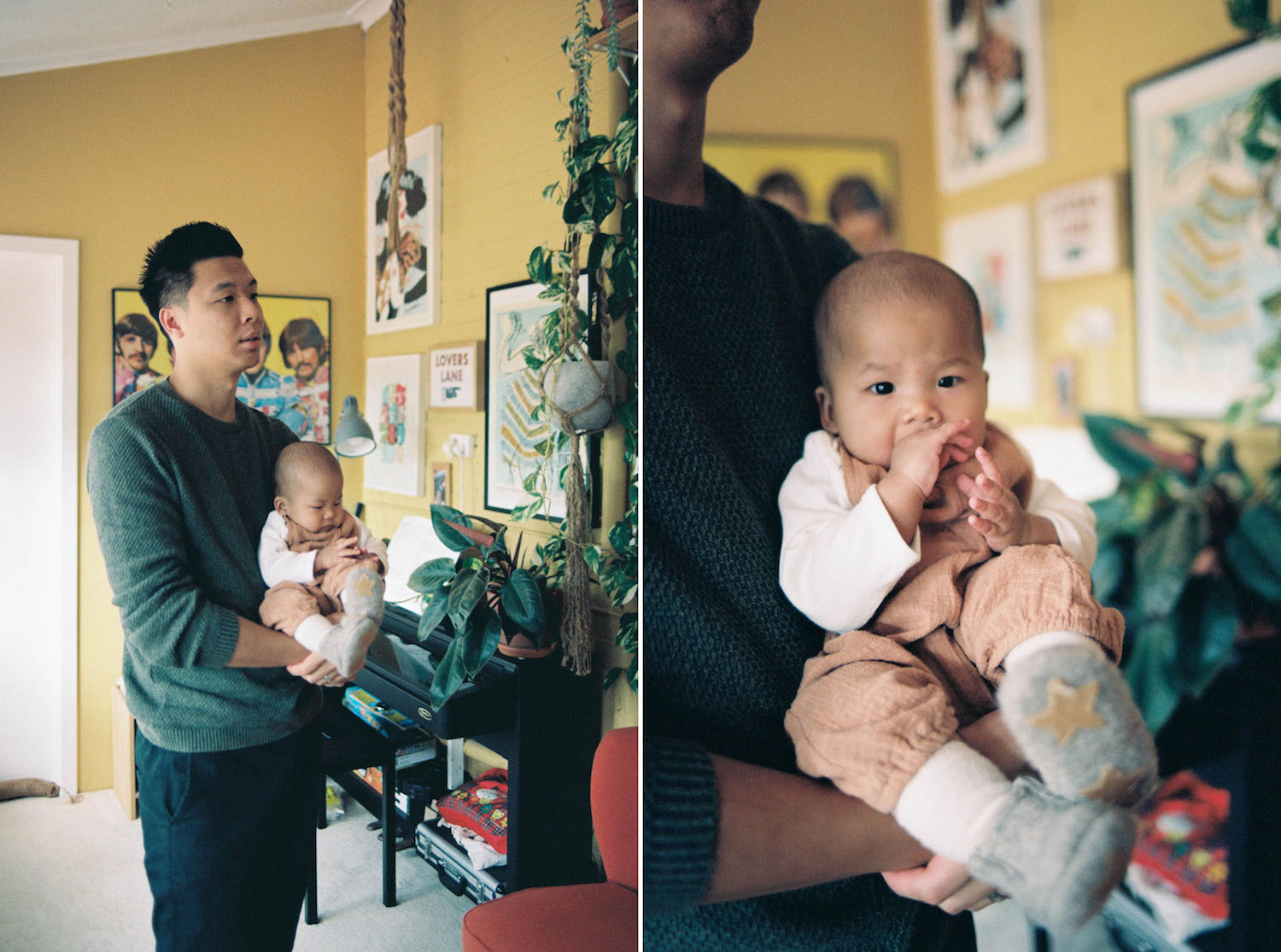 An analogue portrait of Jinn & Alexa during a lifestyle family photo session in Wembley, Western Australia.