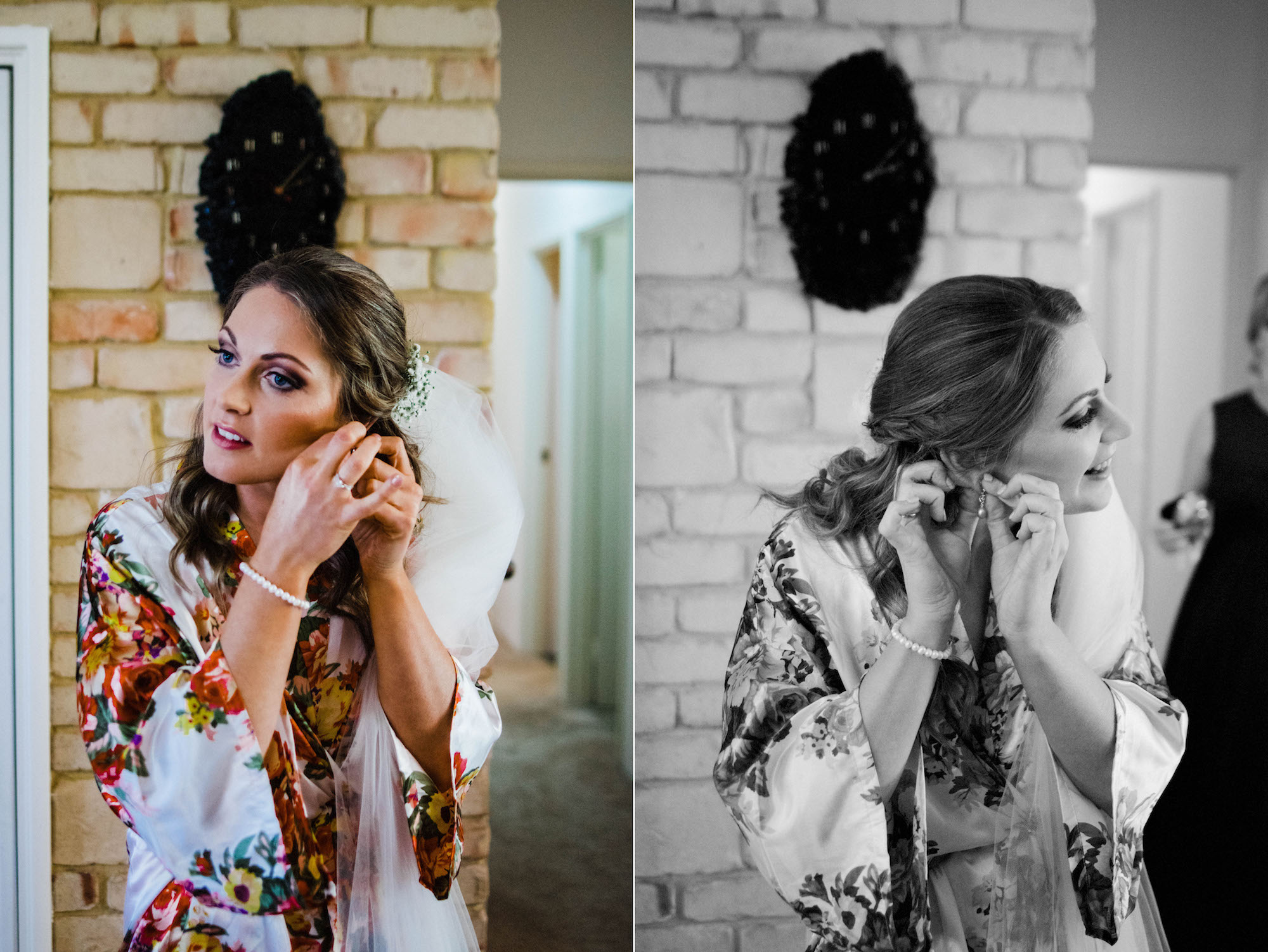 The bride putting in her earrings the morning of her Byford wedding.