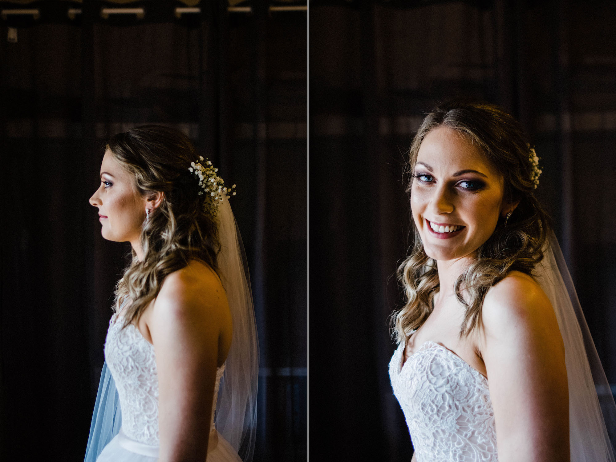 A portrait of the bride before she leaves her house to get married.