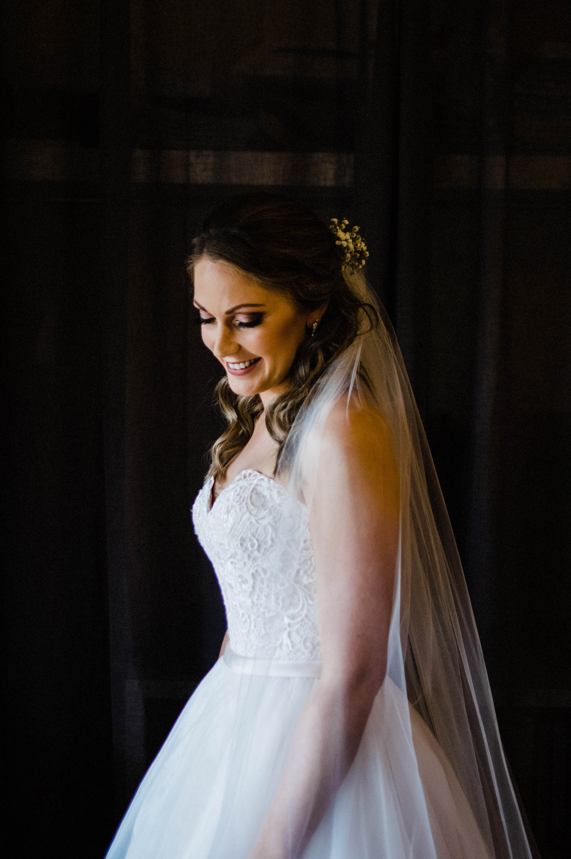 A wedding portrait of the bride before she leaves for the Quarry Farm ceremony.