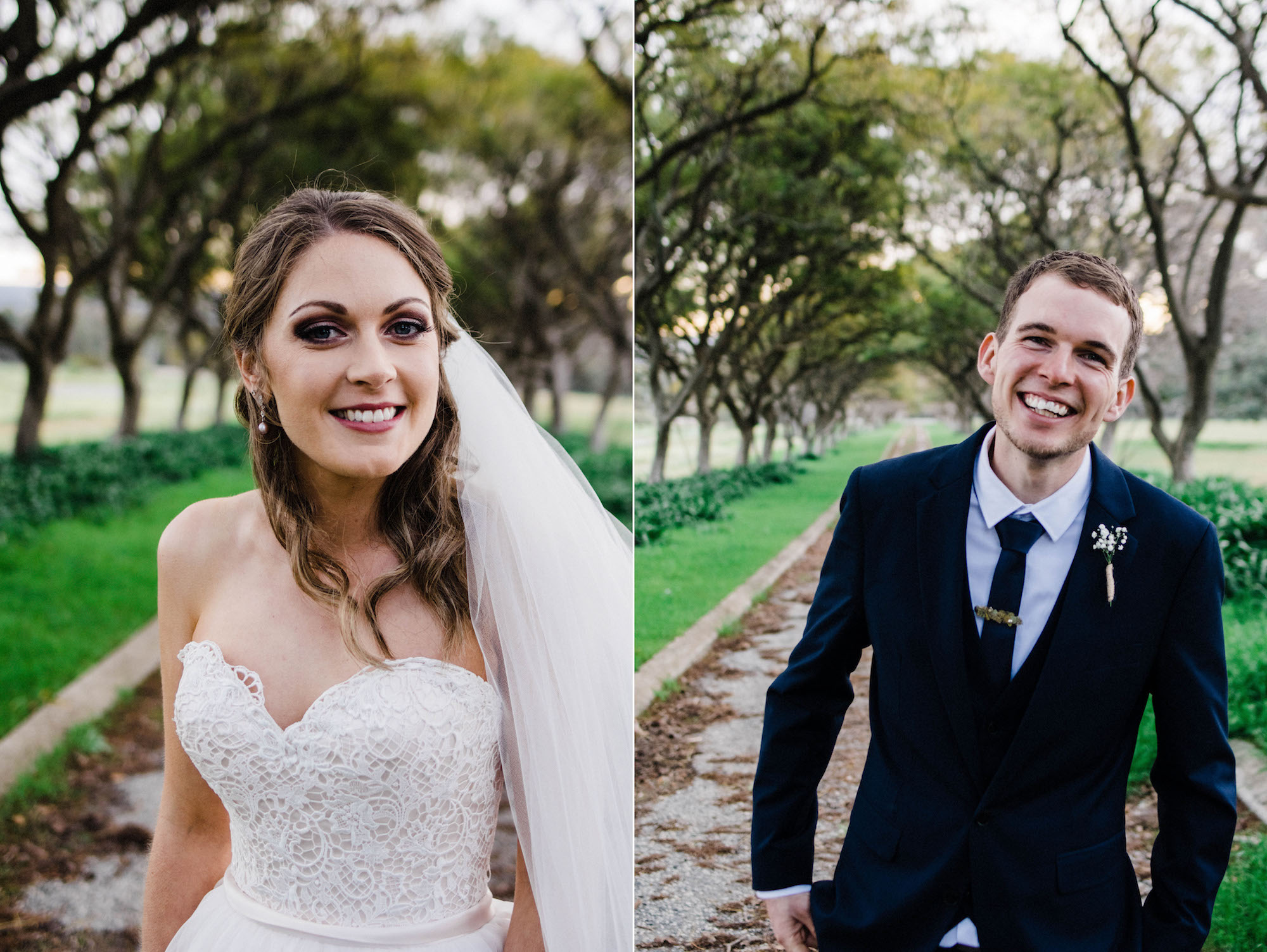 Side by side portraits of the bride & the groom at Quarry Farm.
