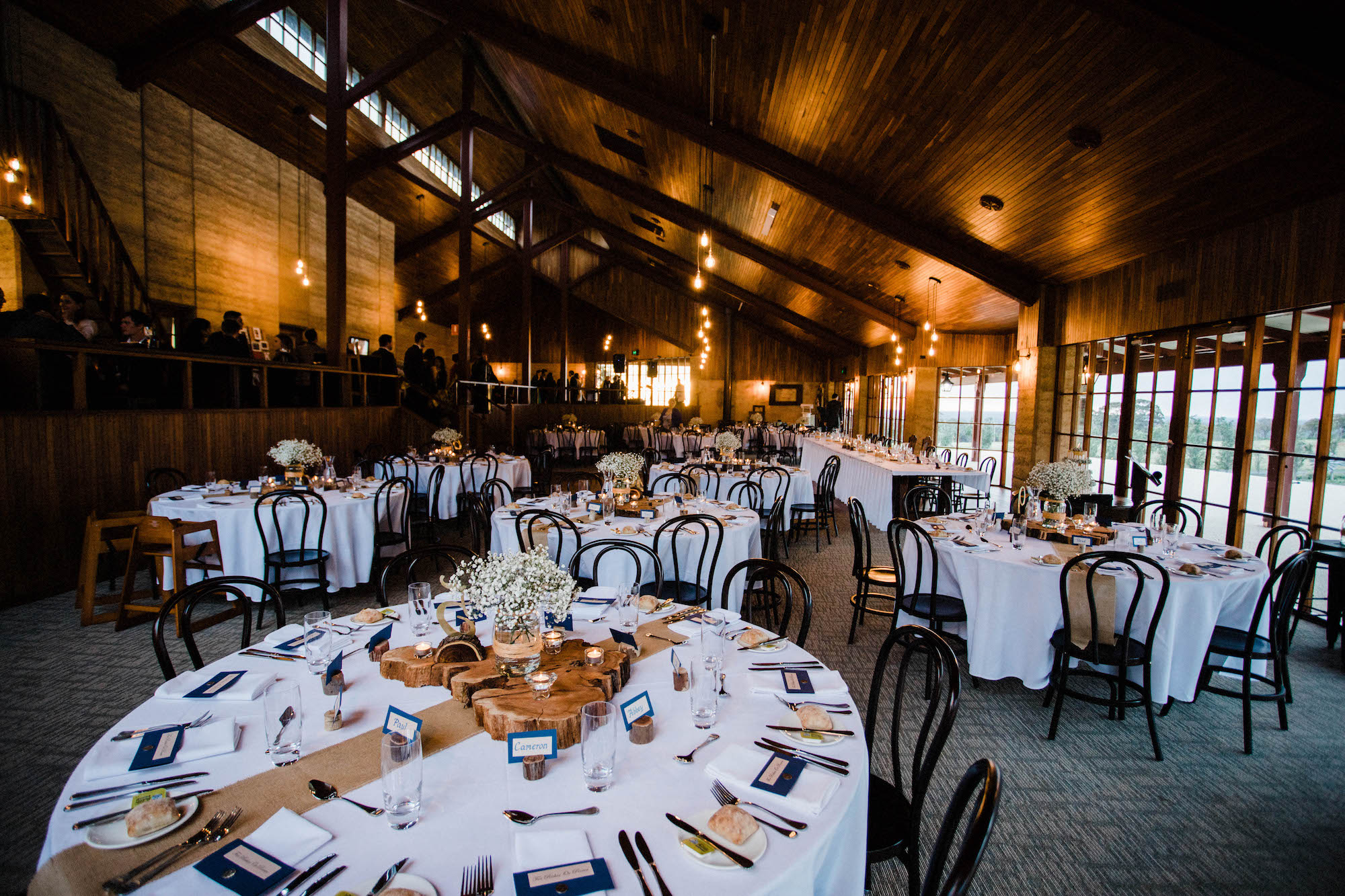 A wide shot of the reception set up at Quarry Farm.