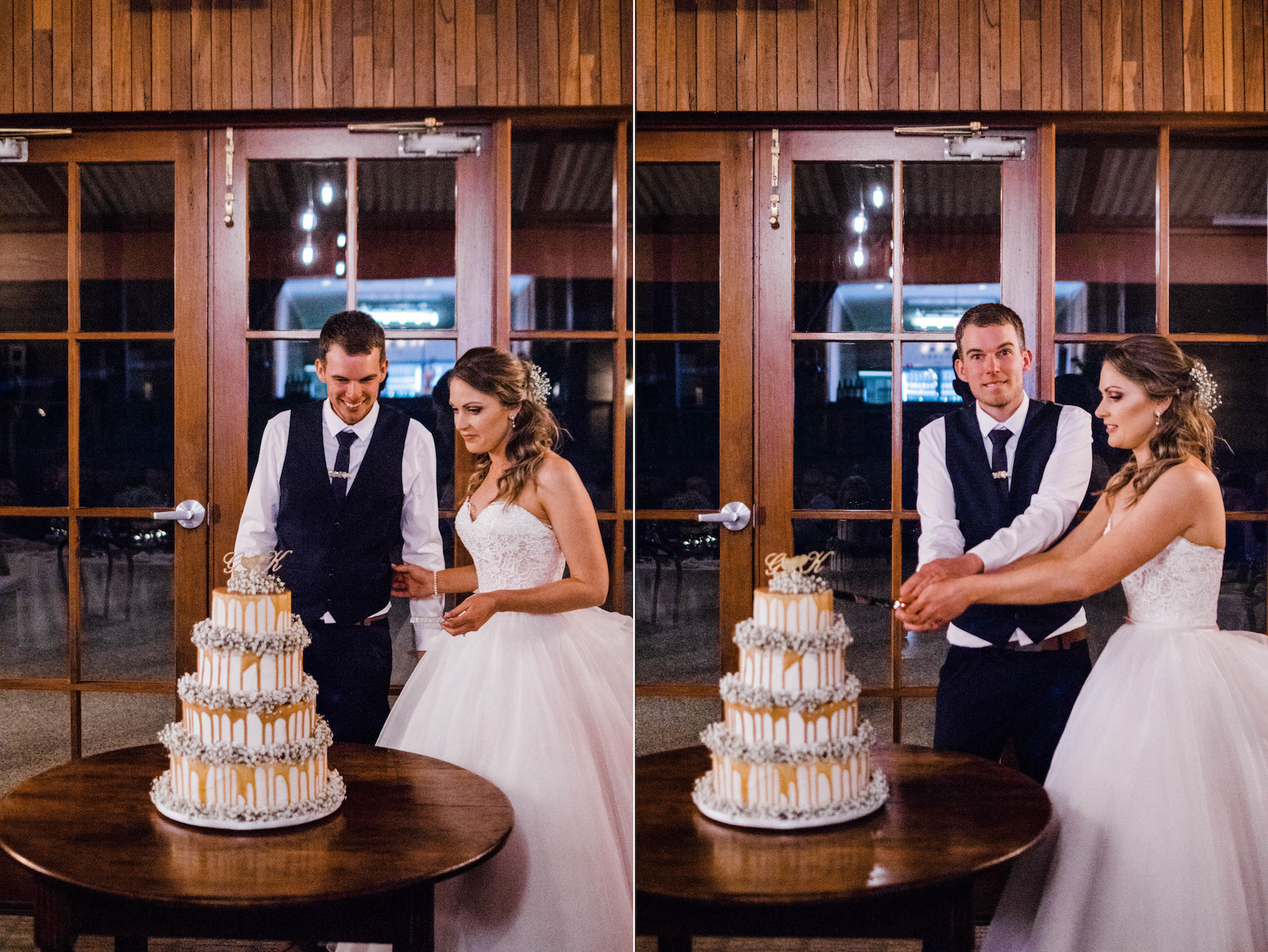 Wedding photography of the bride & groom cutting the cake at Quarry Farm.