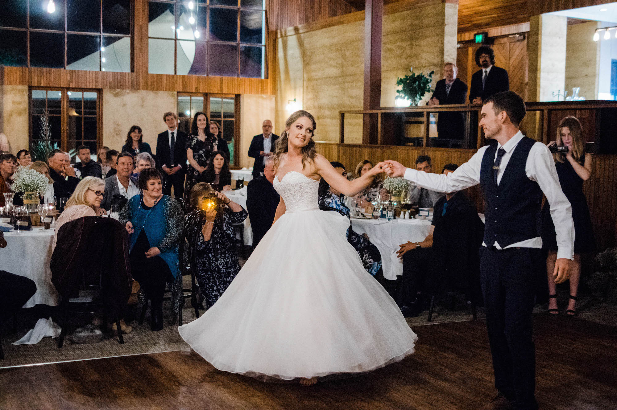 The bride & groom spin at their first dance at Quarry Farm, WA.