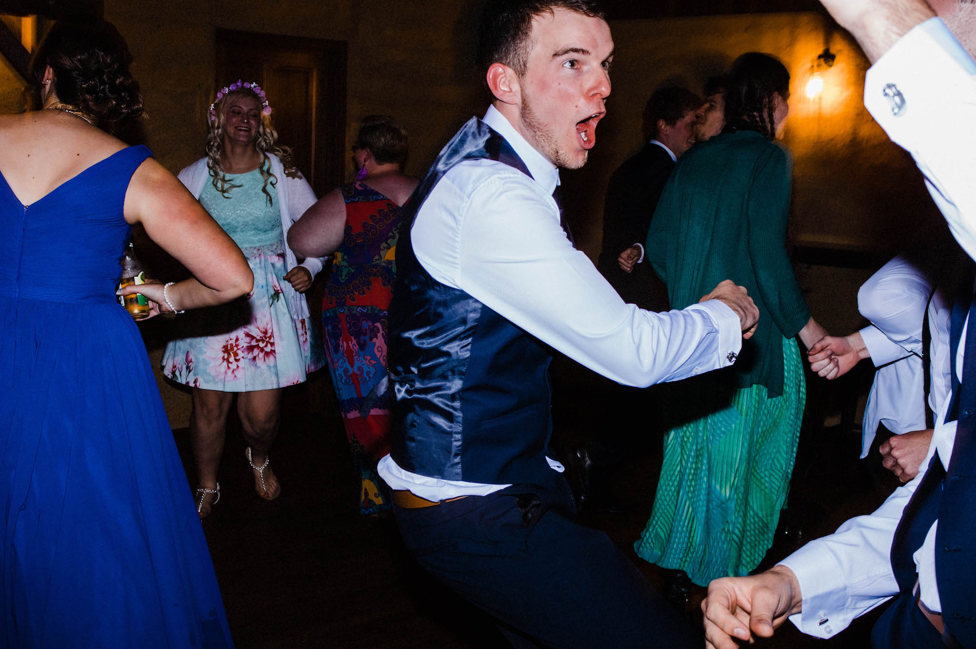 The groom on the dance floor at his wedding reception in Whitby, Western Australia.