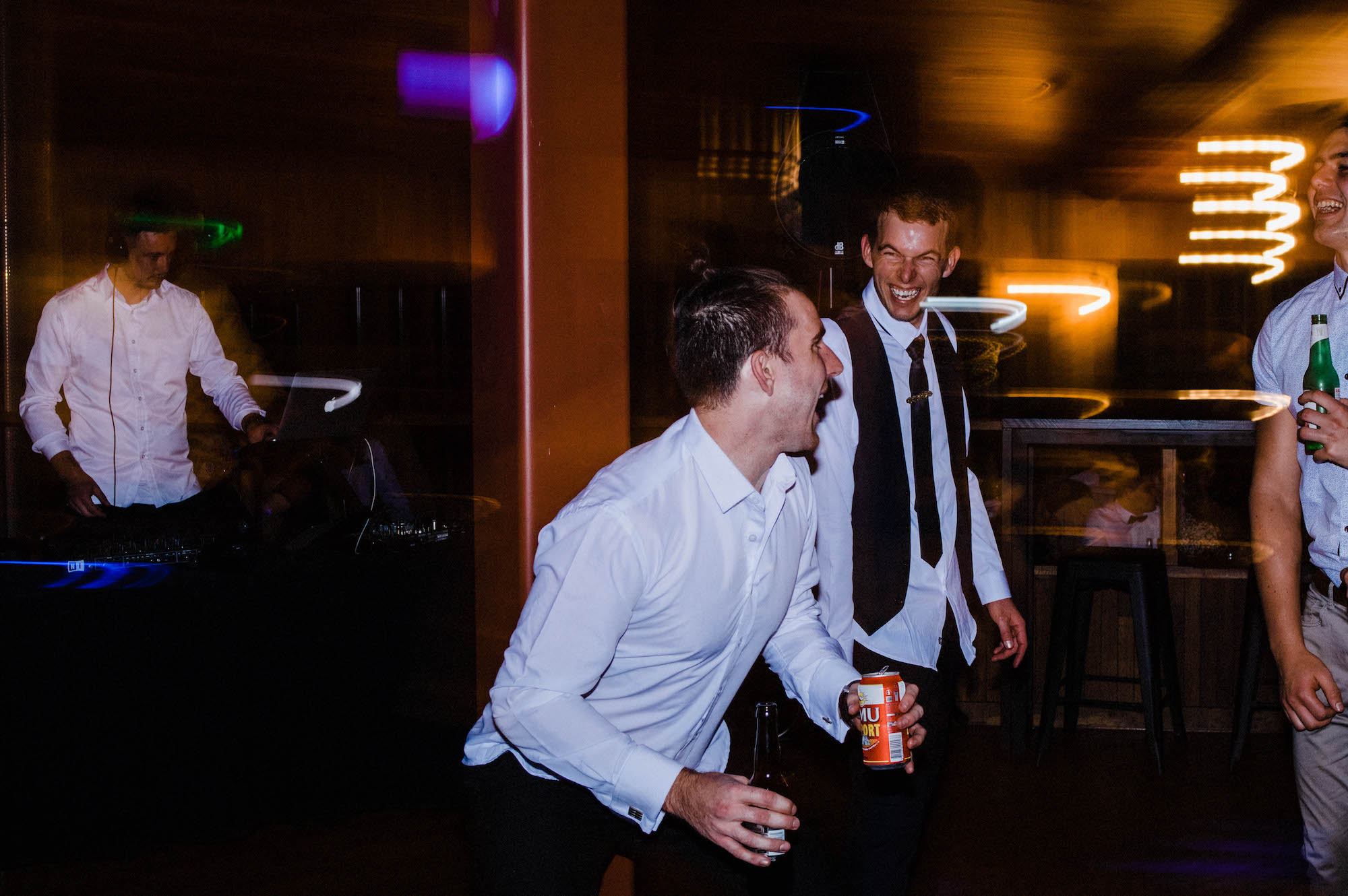 Wedding guests dance together at Quarry Farm.