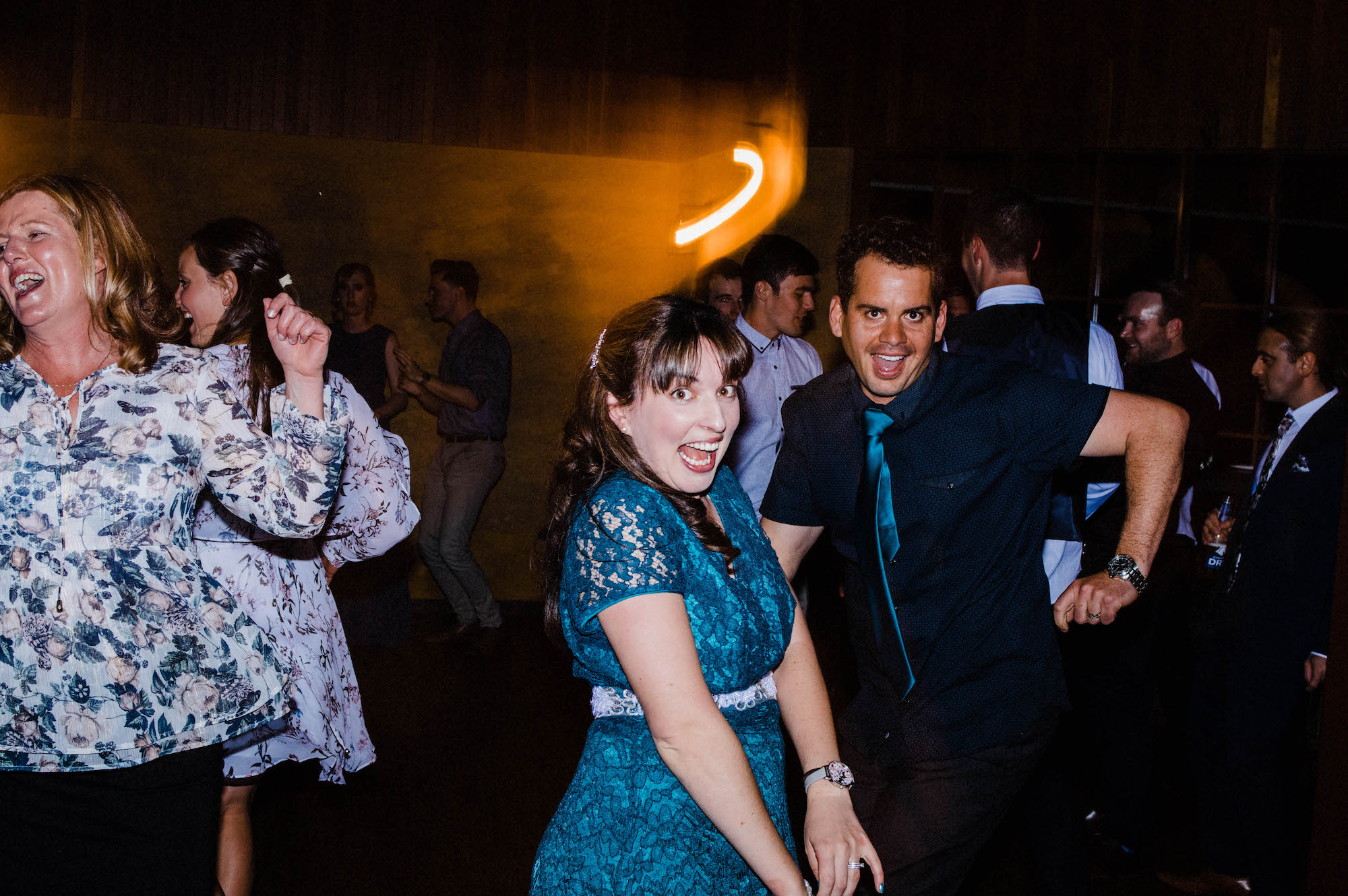 Guests dancing at a Quarry Farm Whitby wedding reception