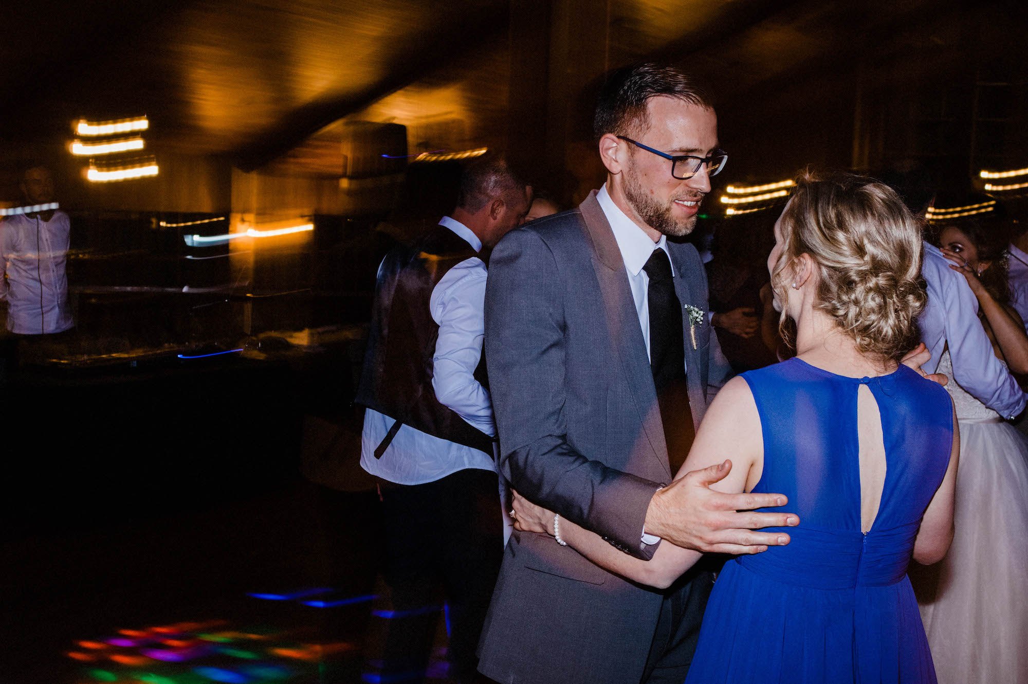 Guests dances together at a Byford wedding reception.