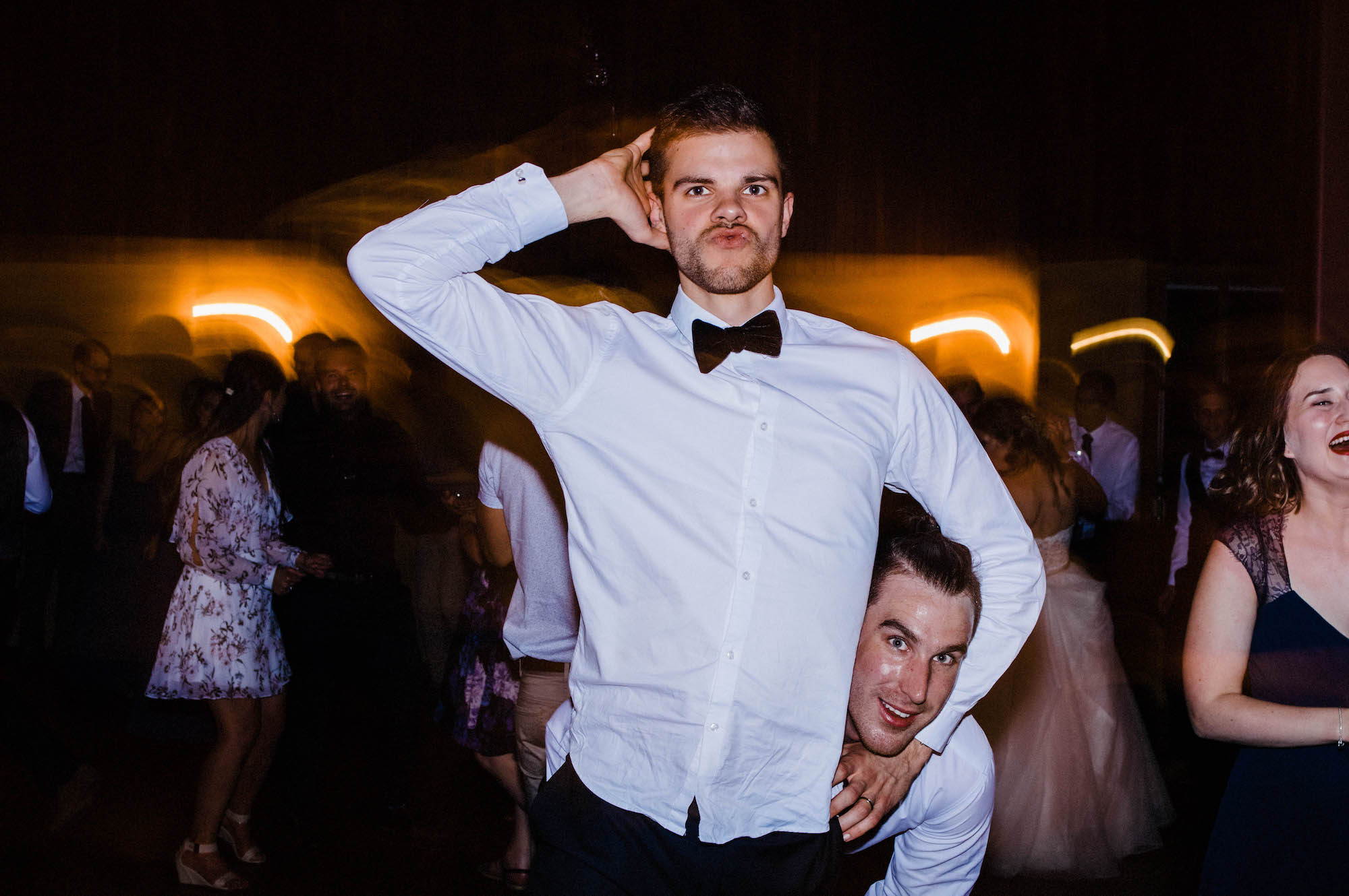 Guests dancing at a wedding reception at Quarry Farm.
