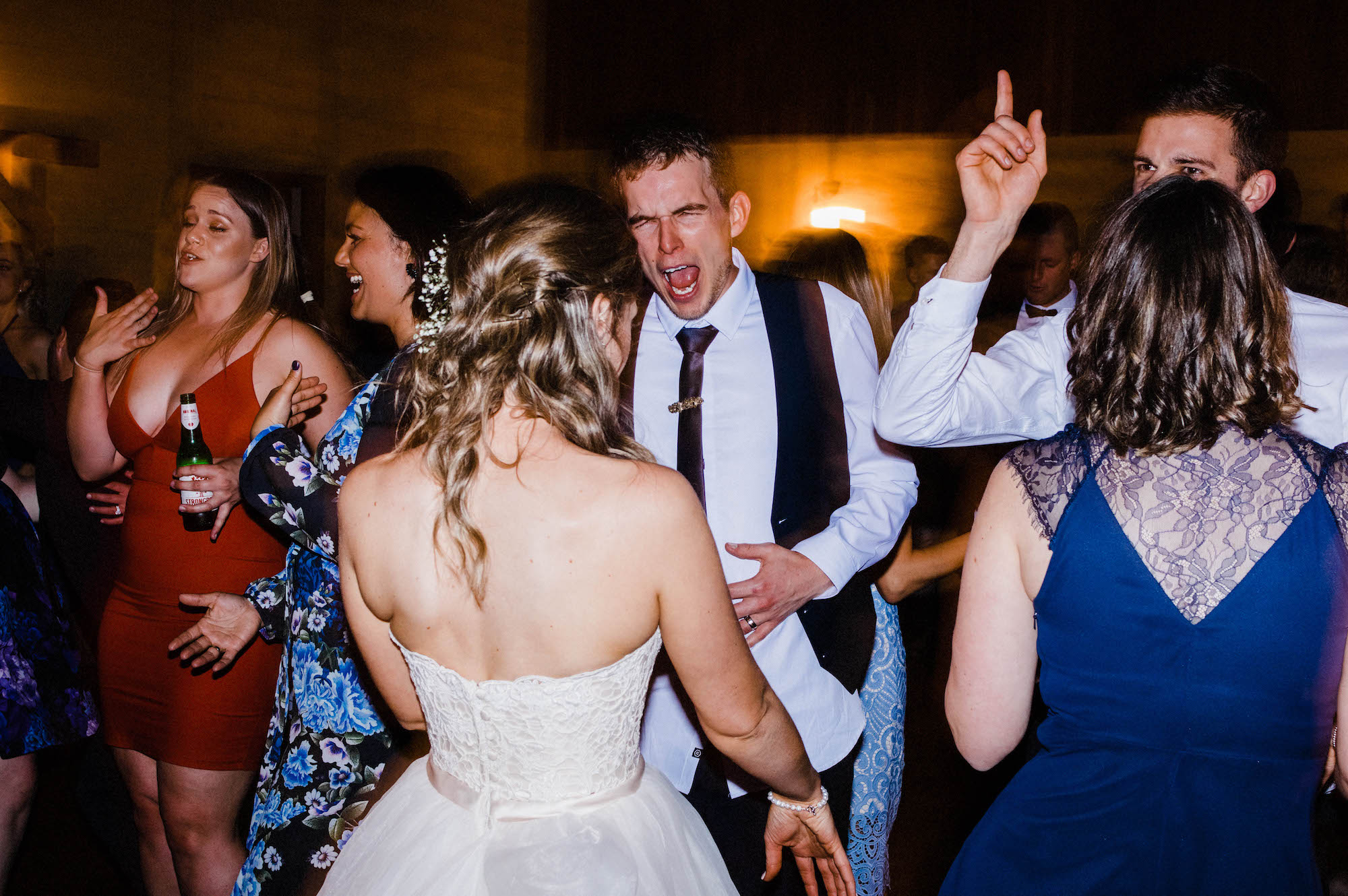 The bride & the groom dance at their Quarry Farm wedding reception