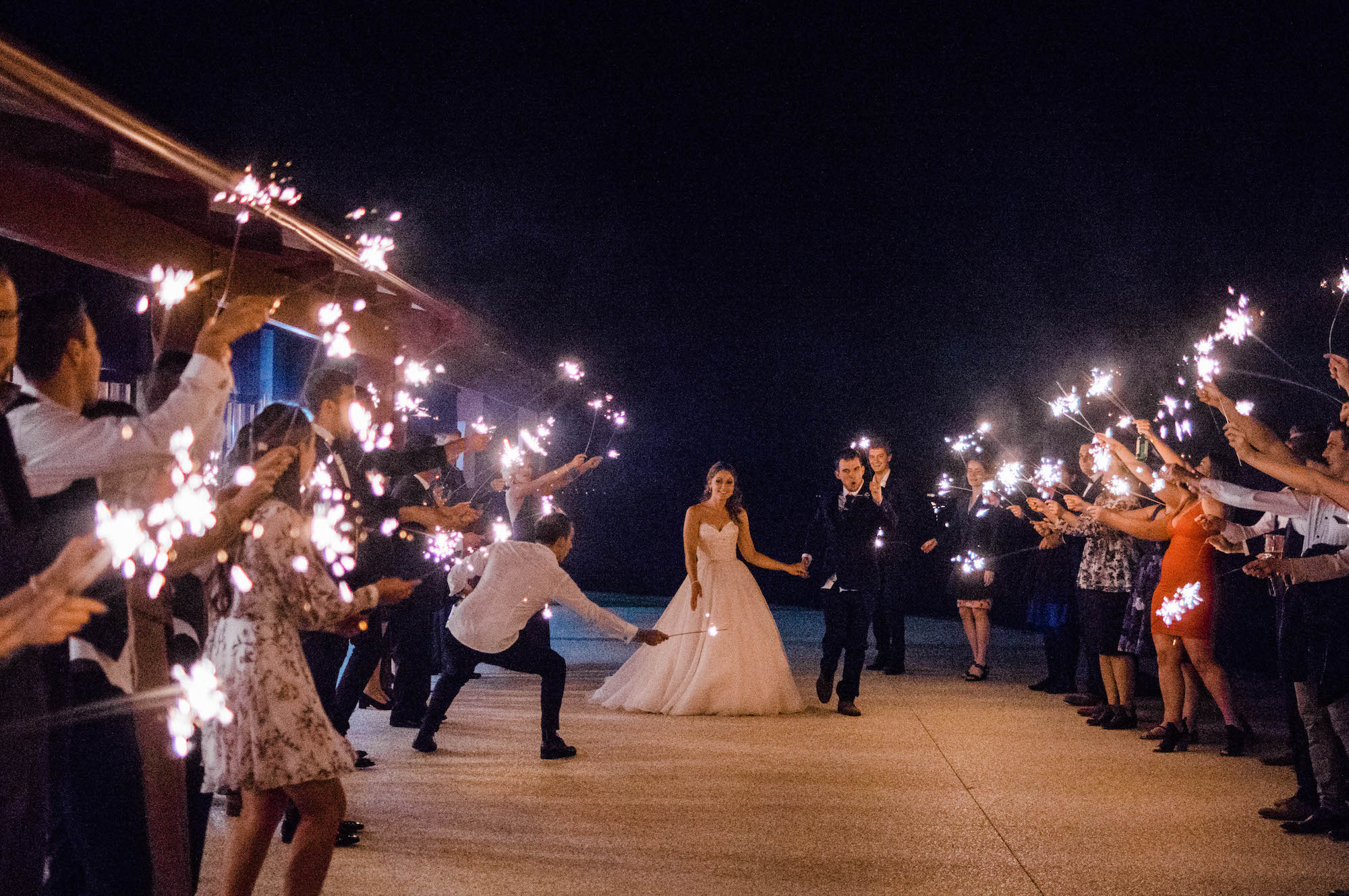 A wedding photo of a sparkler exit at a Byford wedding in Australia.