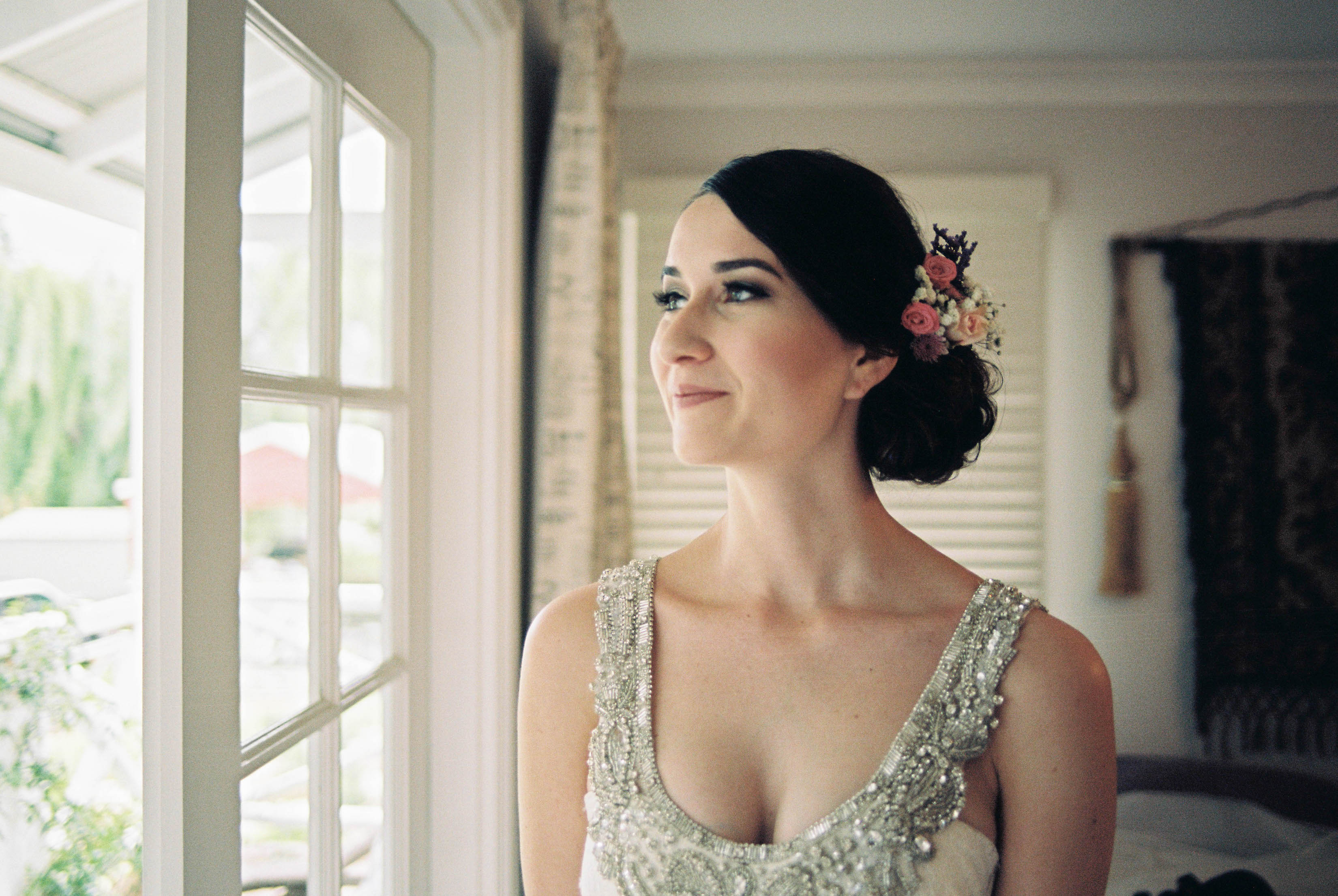 An analogue portrait of a beautiful bride the morning of her wedding in Bridgetown, Western Australia