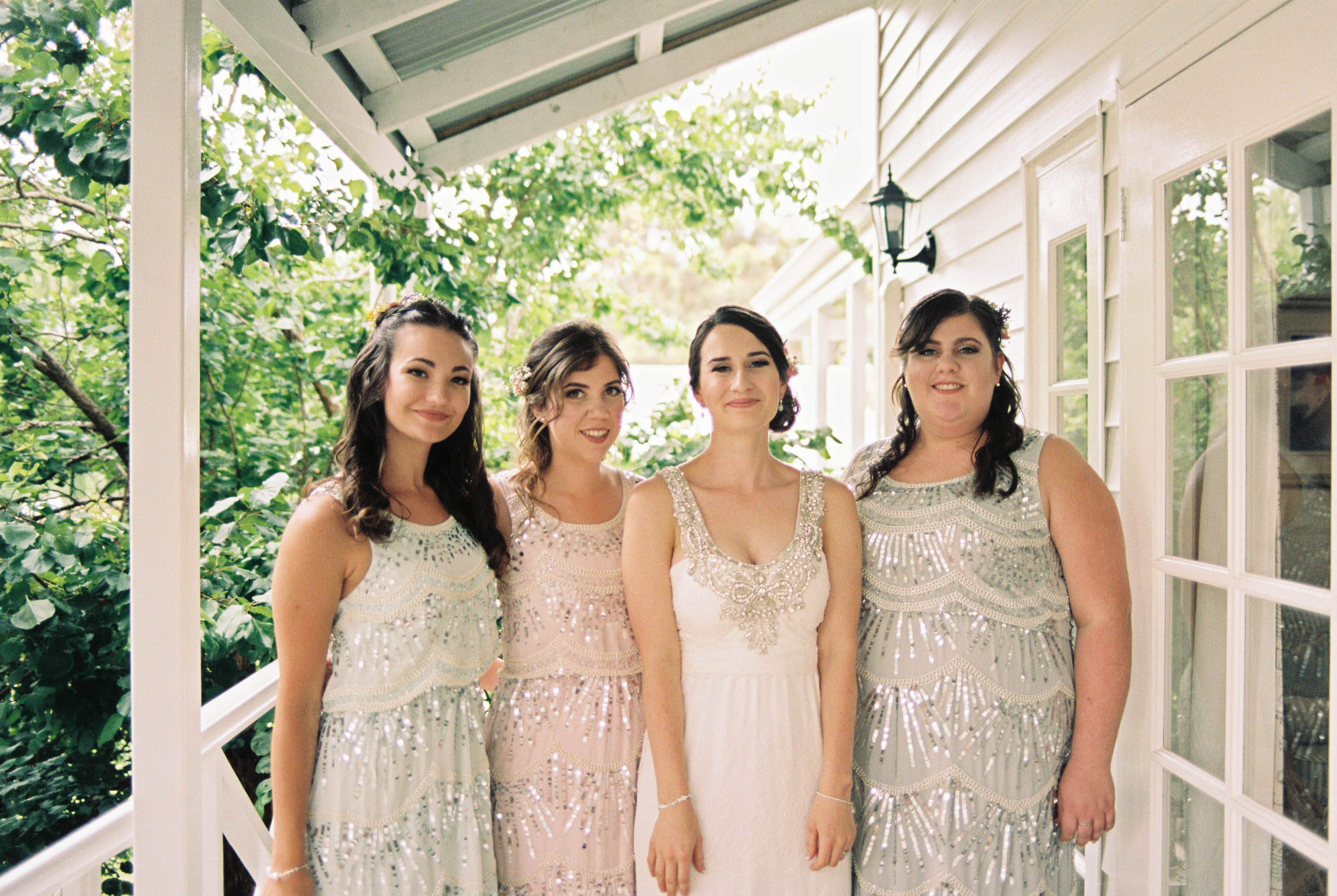 A photo of the bride and her bridesmaids the morning of her South West Destination Wedding taken by Rhianna May Italy and Australia Destination Wedding photographer