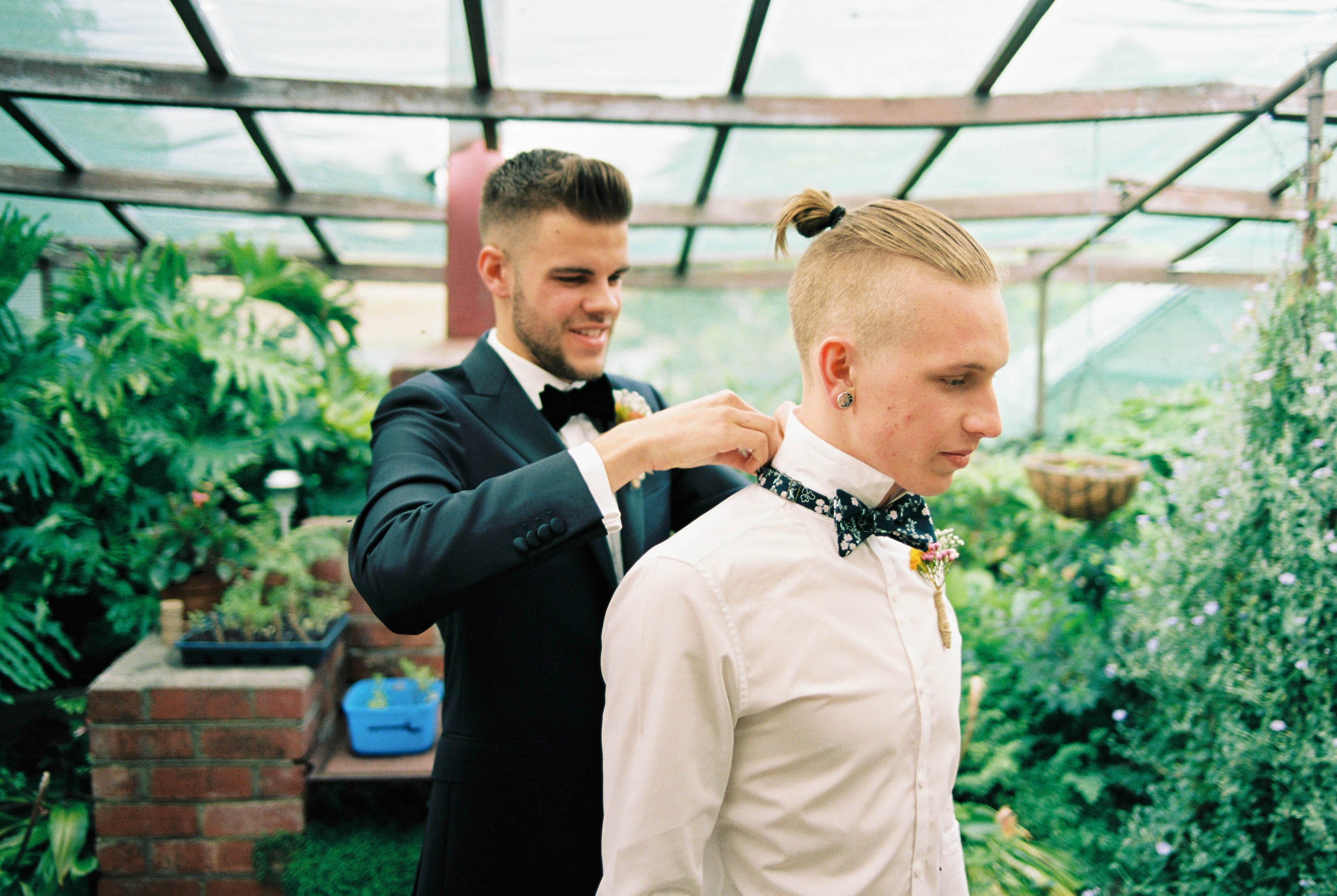 The groom helps one of his groomsmen put on his bowtie, hand-painted by the Groom's Mum taken by a film wedding photographer