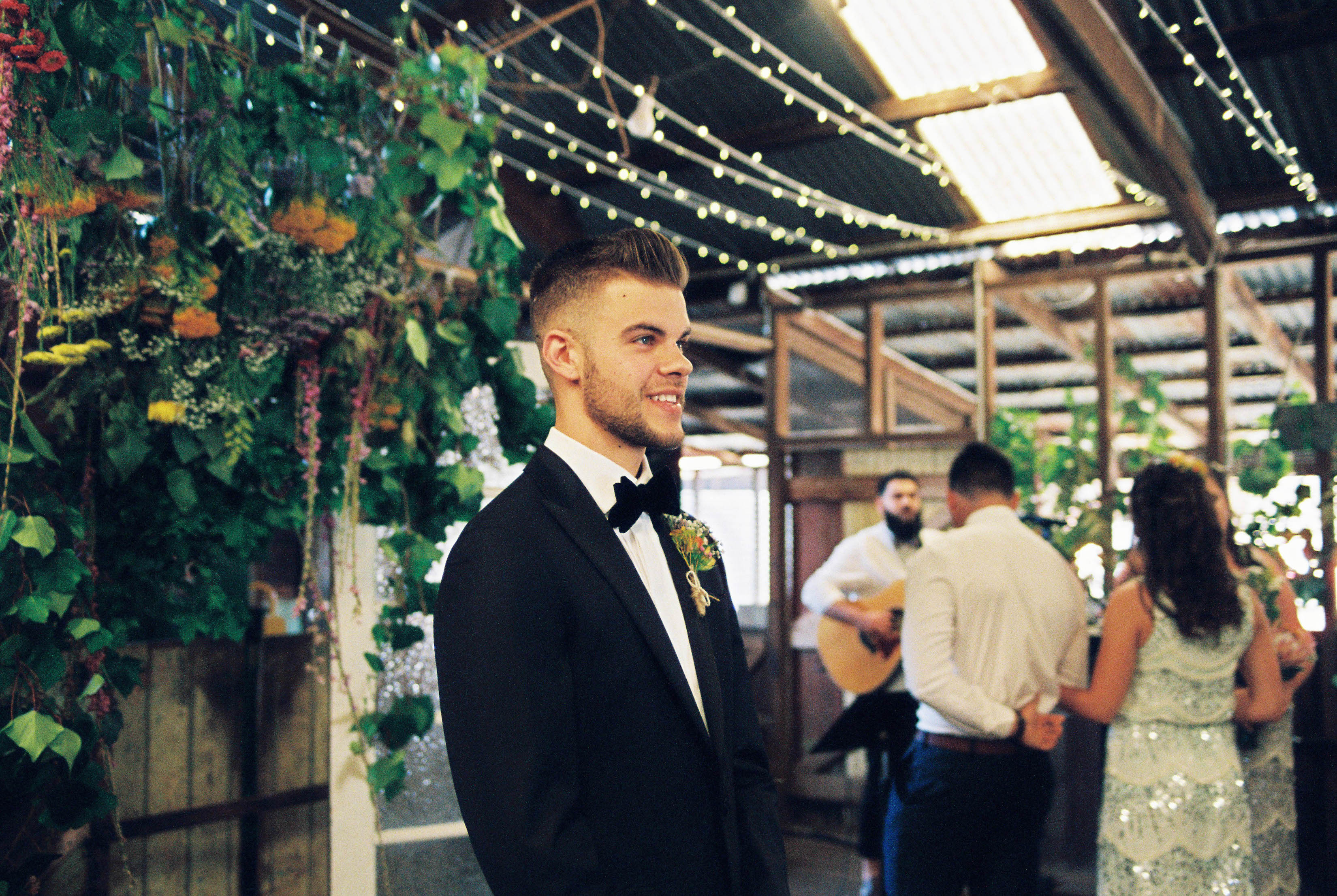 A photo of the groom after seeing his bride for the first time on their South West Wedding Day
