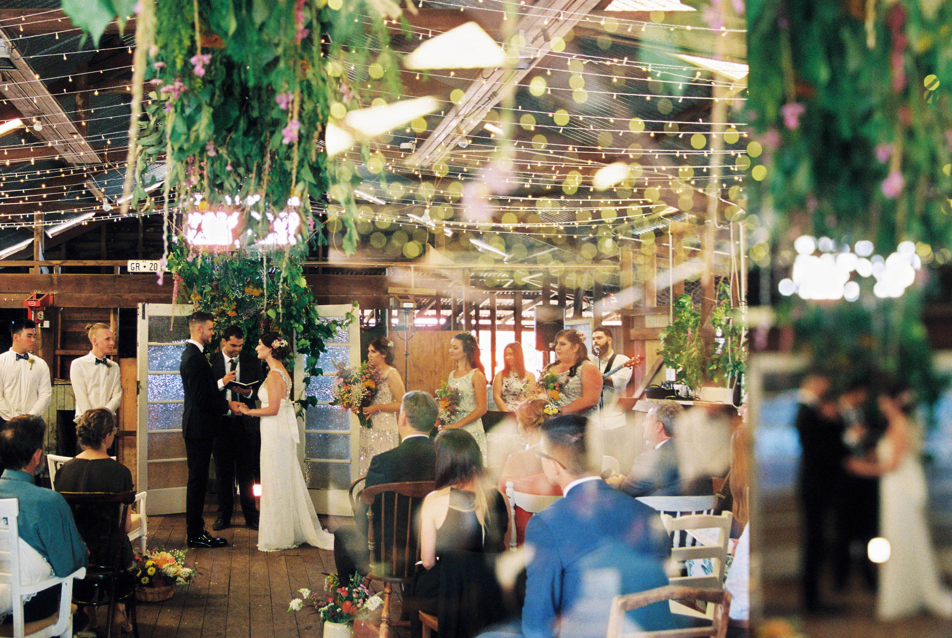 A triple exposure of a country wedding ceremony taken on film by Rhianna May, Australian Italian Wedding Photography