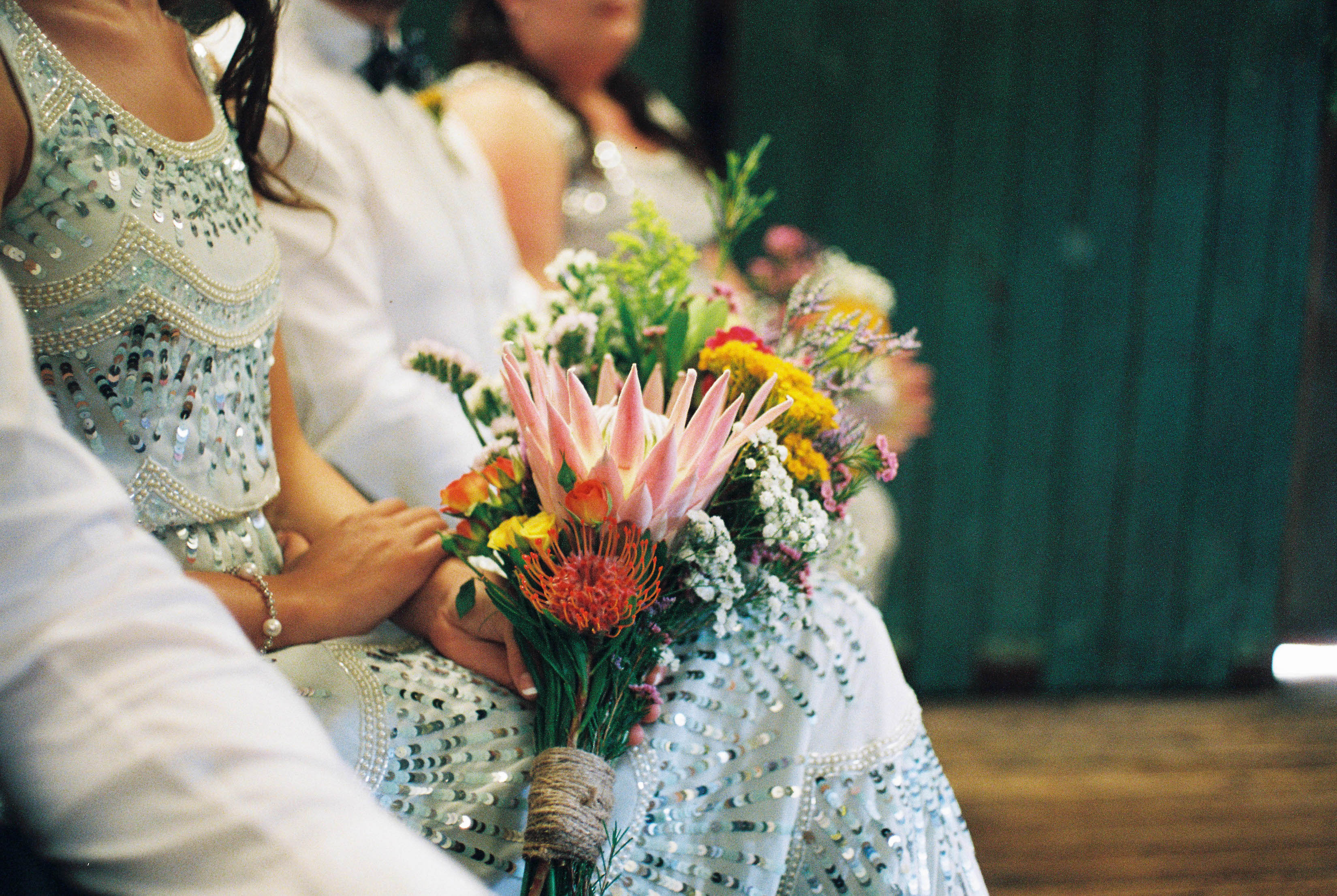 A detail photo of the bridesmaids Australian Native bouquets, taken by Australian Wedding Photographer, Rhianna May