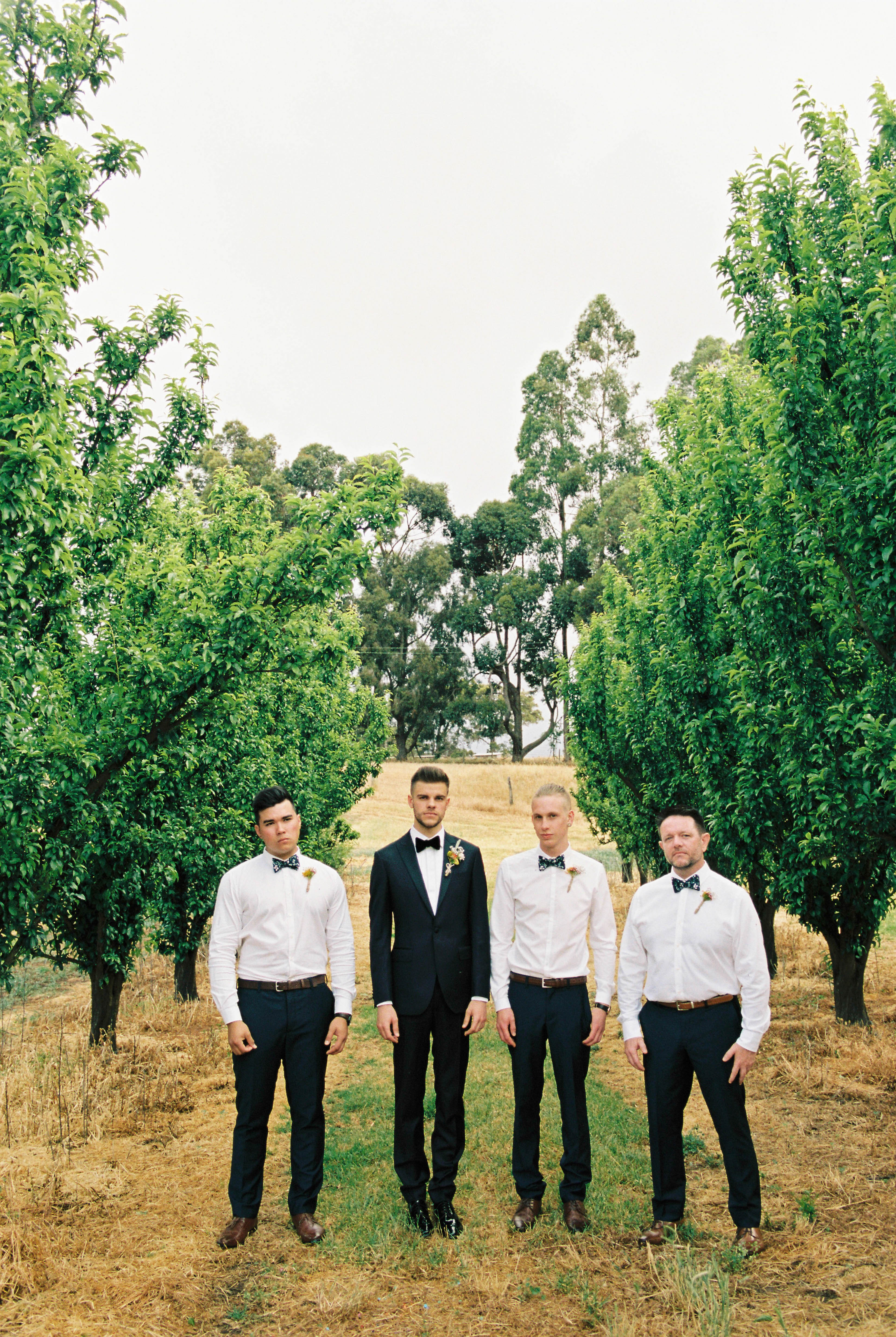 A photo of the groom and groomsmen looking sharp at an Australian Country Wedding