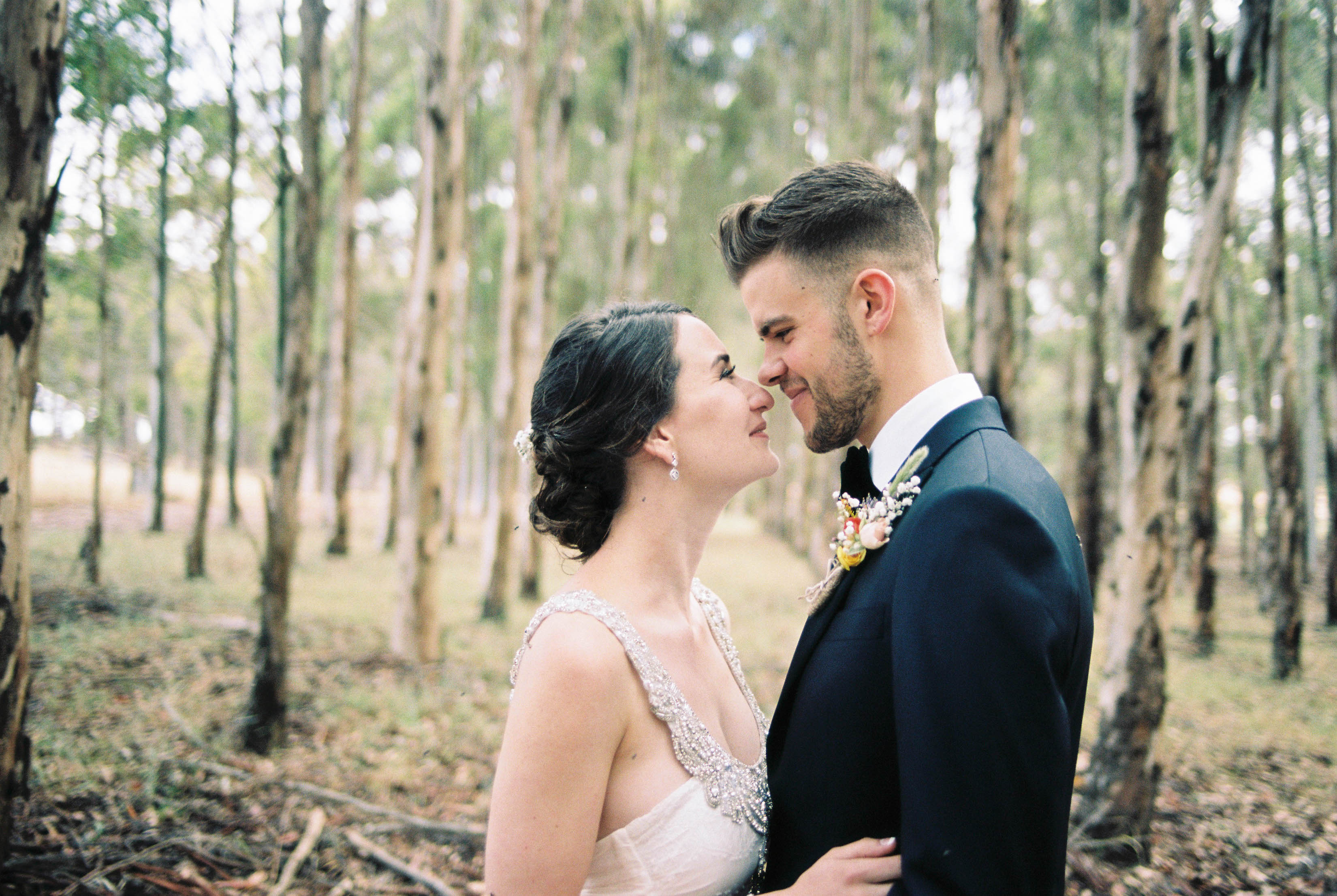 Wedding portraits of the bride and groom sharing a quiet moment in a blue gum plantation