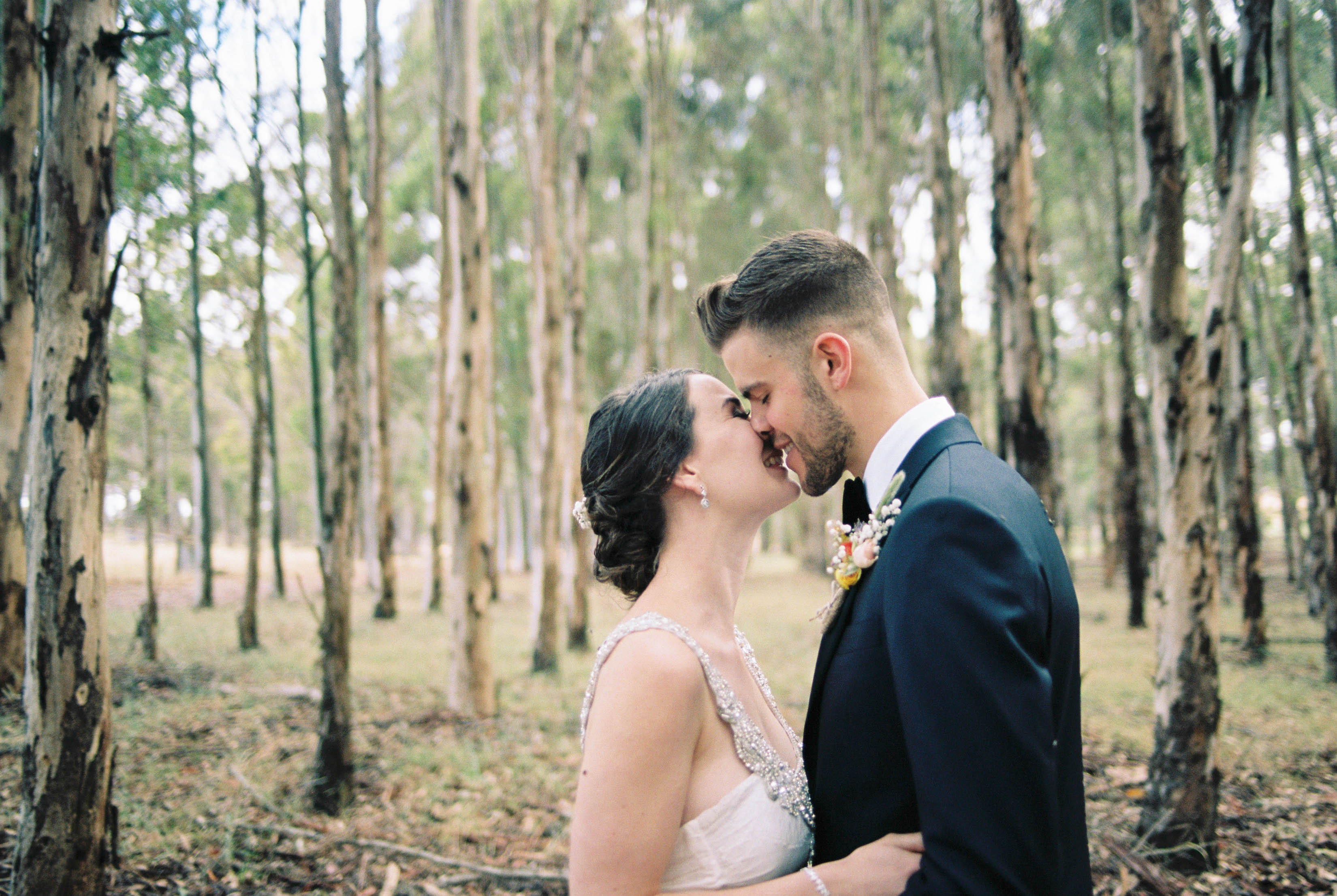 Natural wedding portraits of the bride and groom kissing in a blue gum plantation