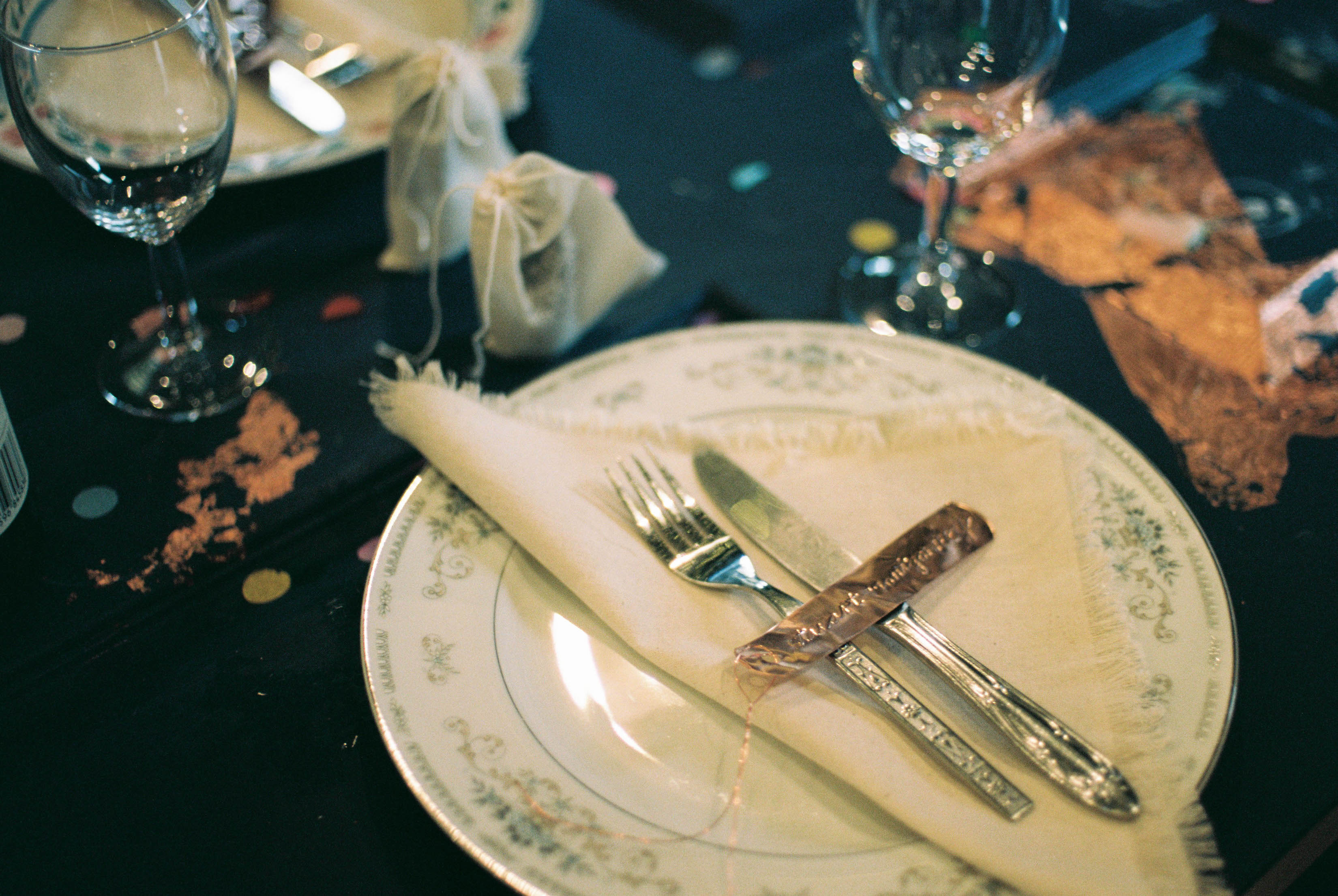 A photo of a vintage boho place setting at a South West Farm Wedding