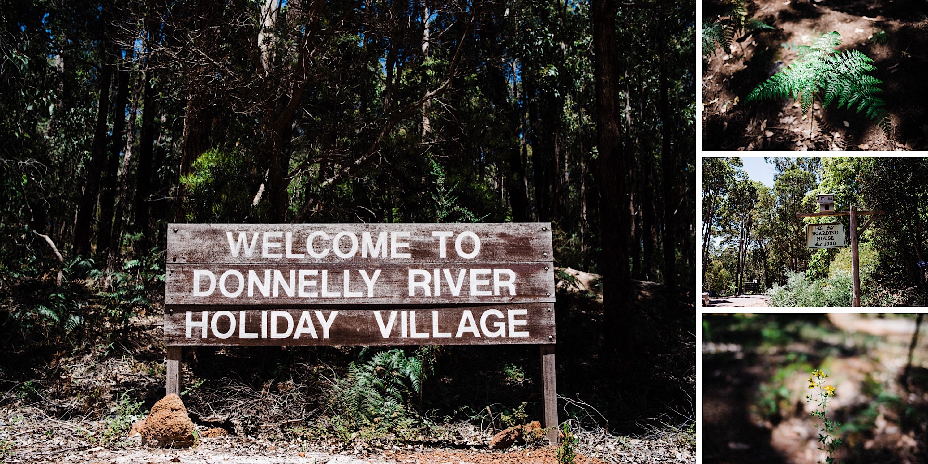 A collage of images from Donnelly River Village in Bridgetown, Western Australia.