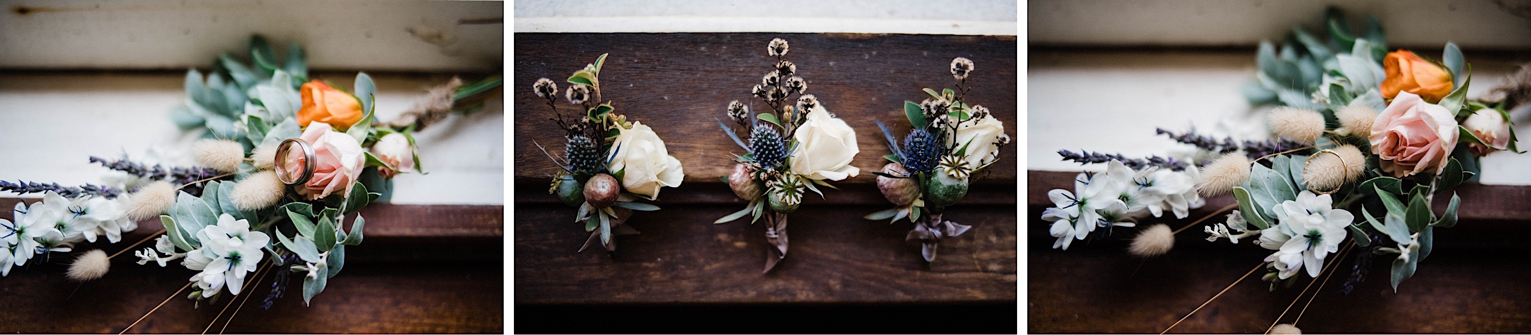 Photography of the boy's buttonholes and the flower girls' posies the morning of a wedding.