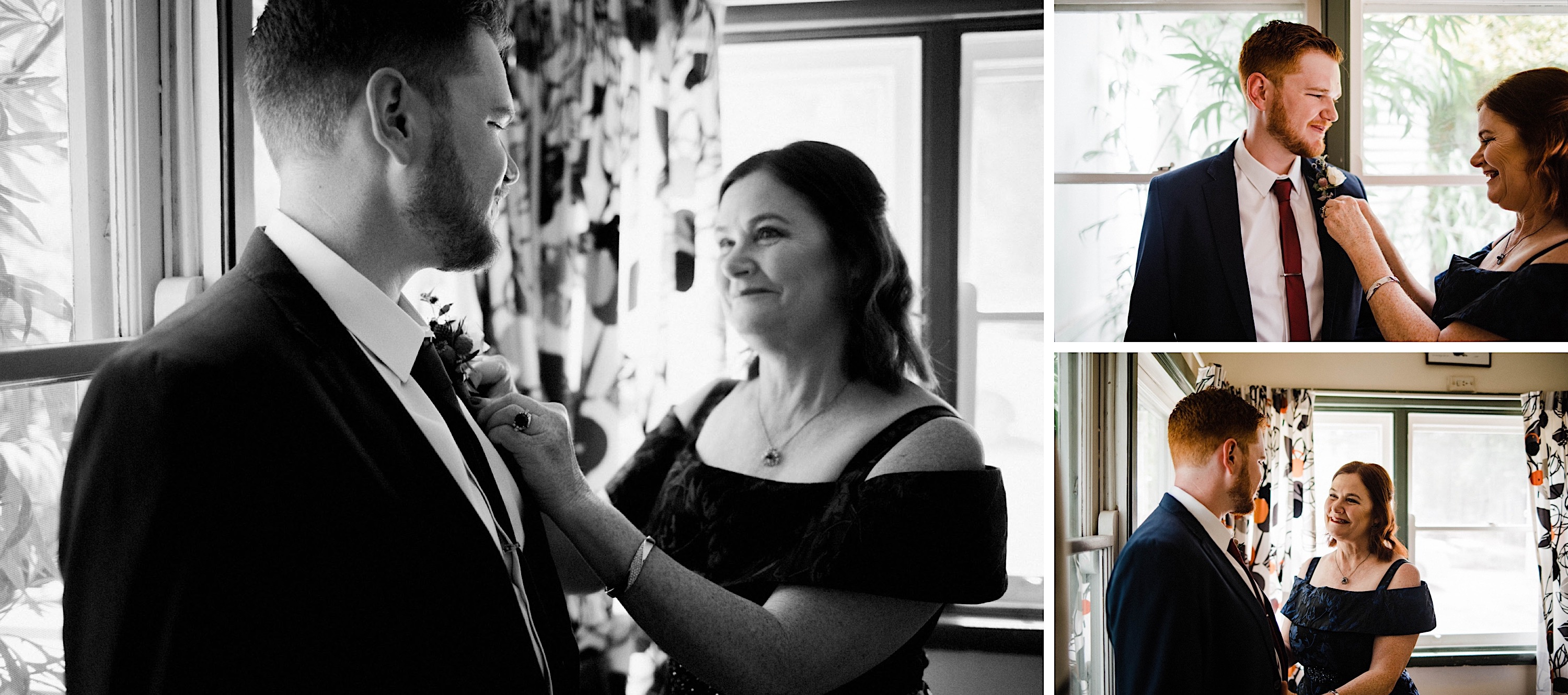Documentary photography of the Groom's Mum helping him with his buttonhole.
