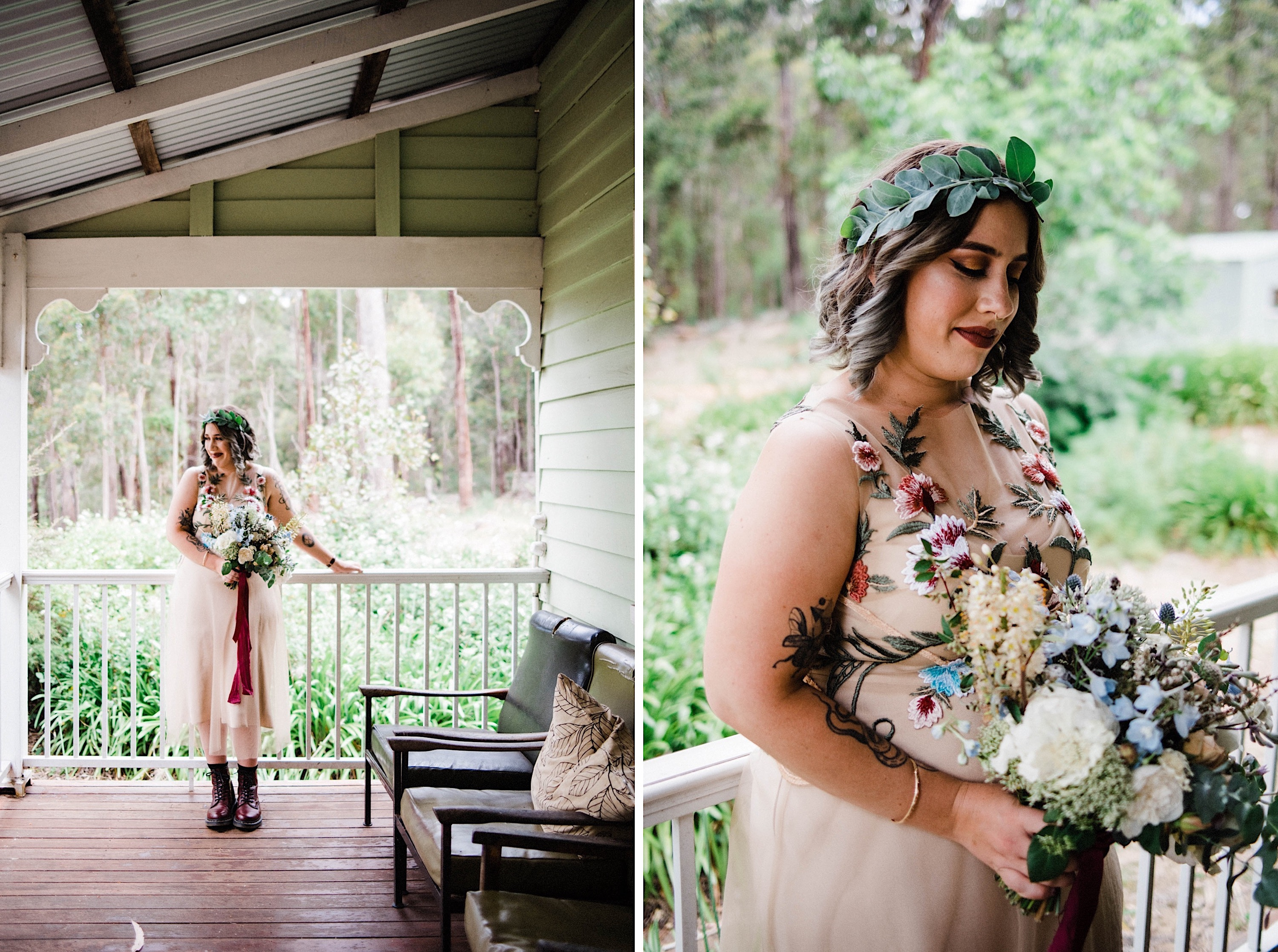 Photos of the bride once she's finished getting ready for her wedding, wearing Dr Marten boots and a custom embroidered dress.