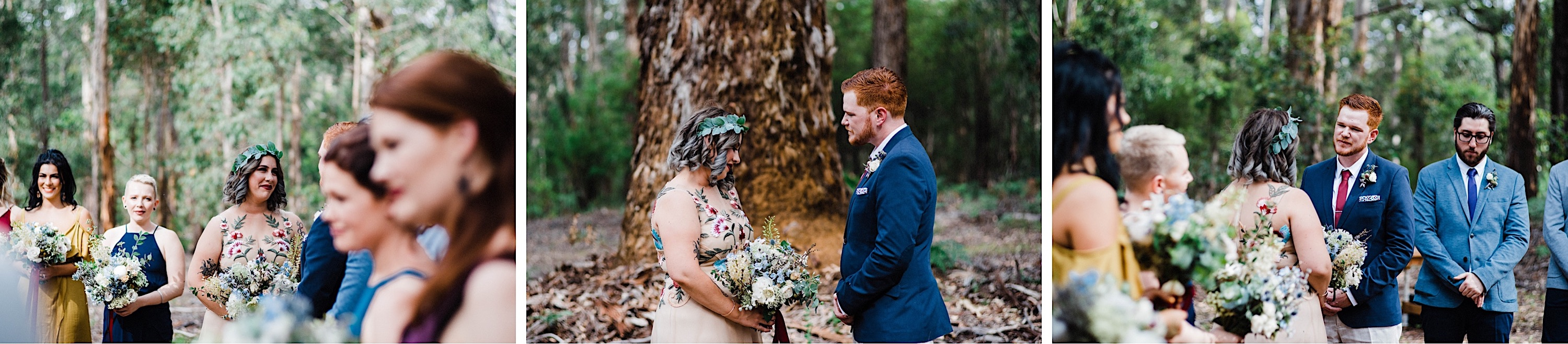 A tryptich of the bride & groom sharing moments during their Bridgetown Wedding Ceremony in the Karri Forest.