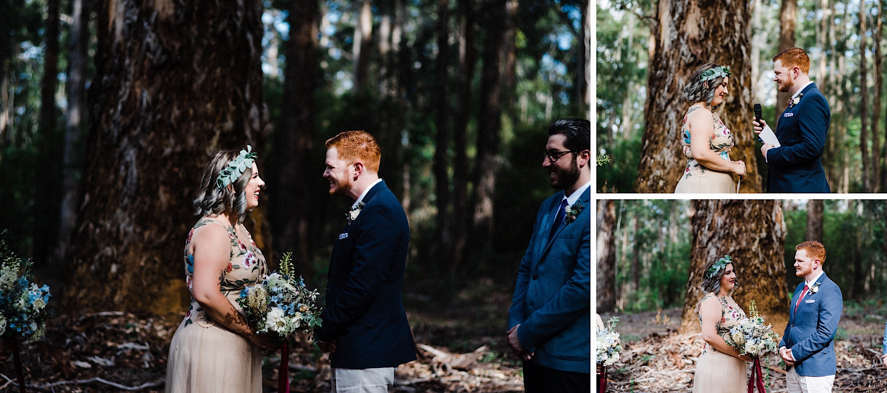 Authentic Wedding Photography of the Bride & Groom smiling and laugh together during their Donnelly River Wedding Ceremony.